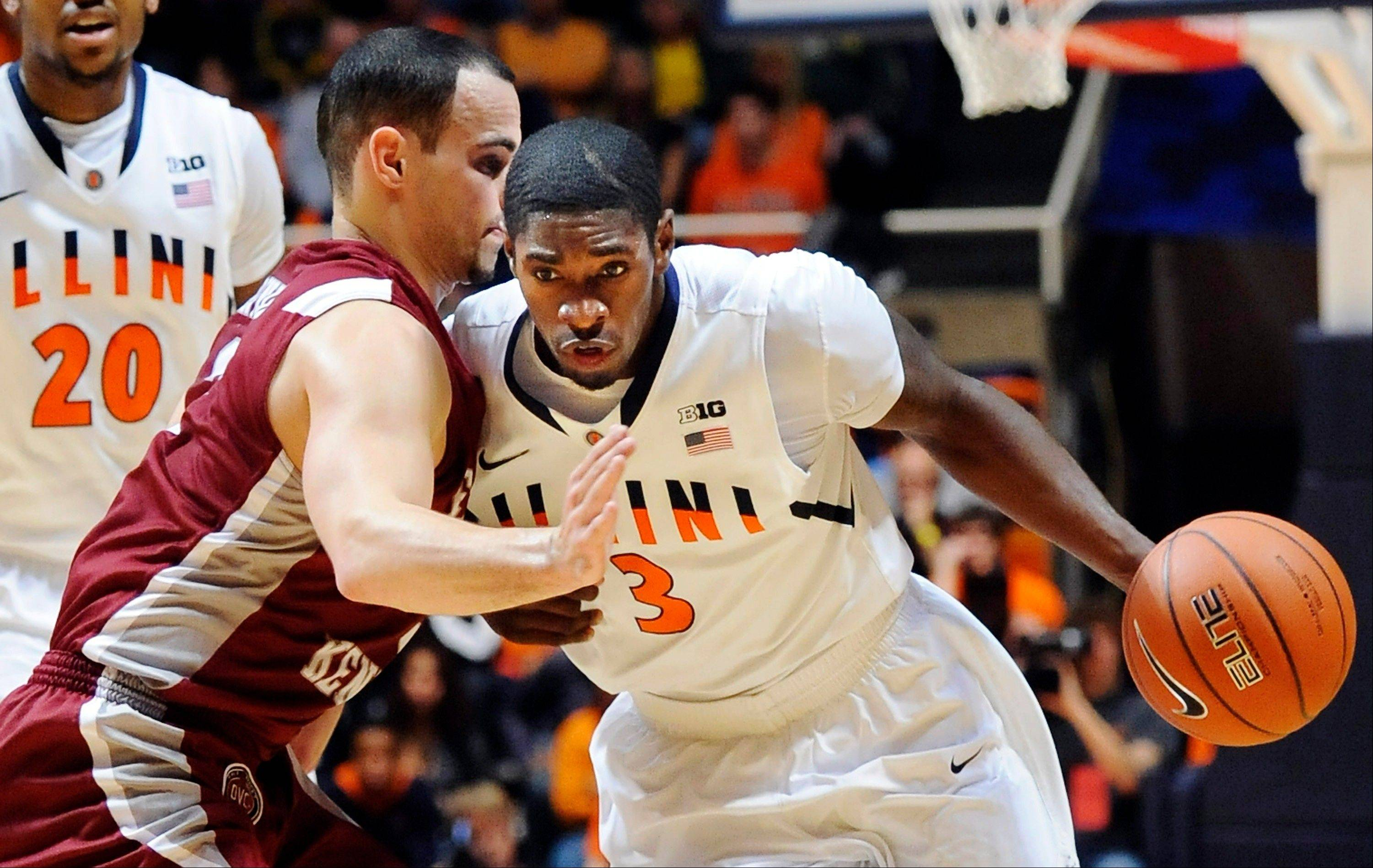 Illinois guard Brandon Paul drives against Eastern Kentucky Sunday during the first half. Illinois won 66-53.