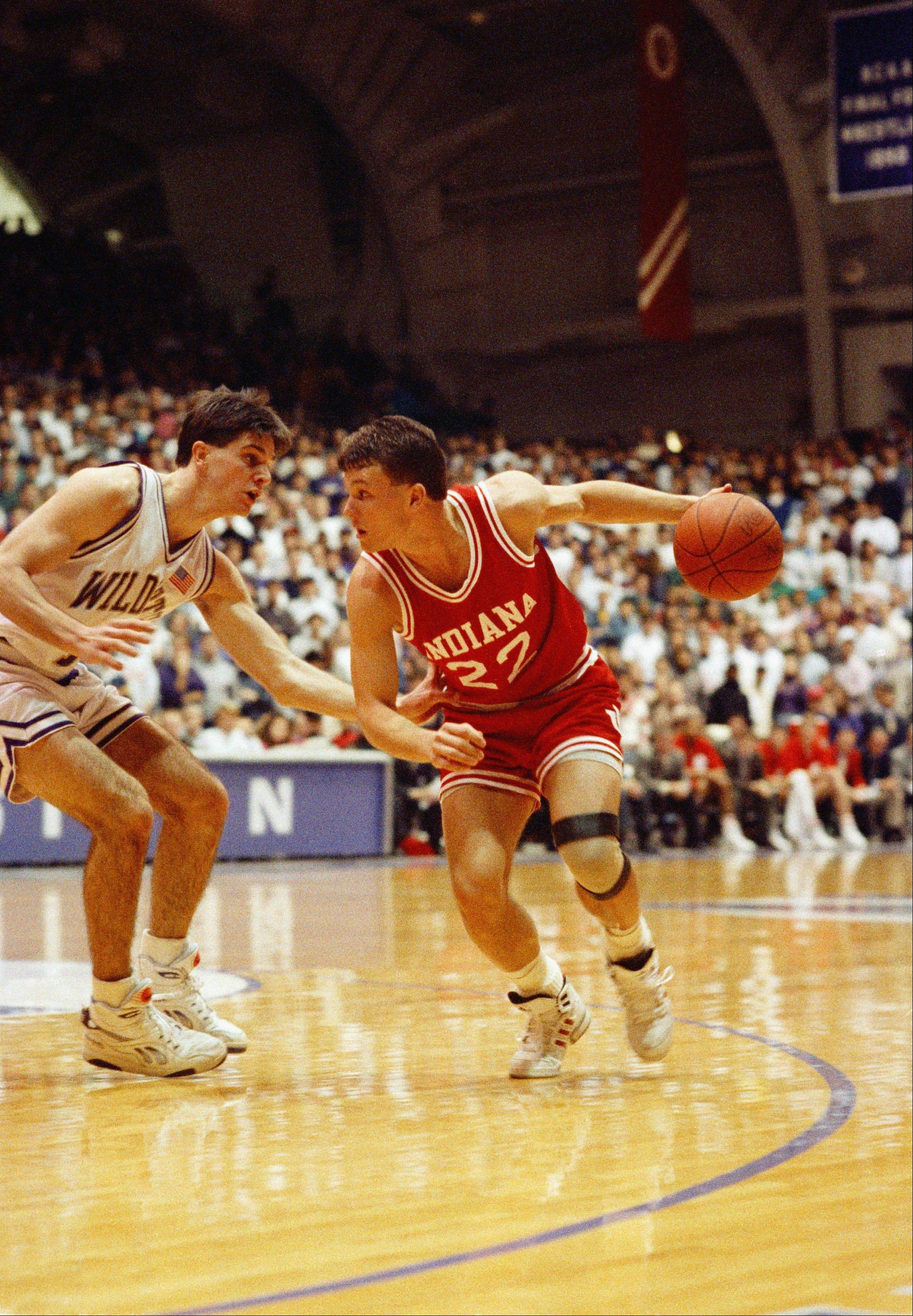 Associated Press/1992 fileNorthwestern's Todd Leslie, left, was a good perimeter defender as well as a shooter, as he demonstrated against Indiana's Damon Bailey (22). Leslie's 15 straight 3-point baskets in 1990 is still an NCAA record, but a freshman from Auburn has 11 straight going into a game Saturday.