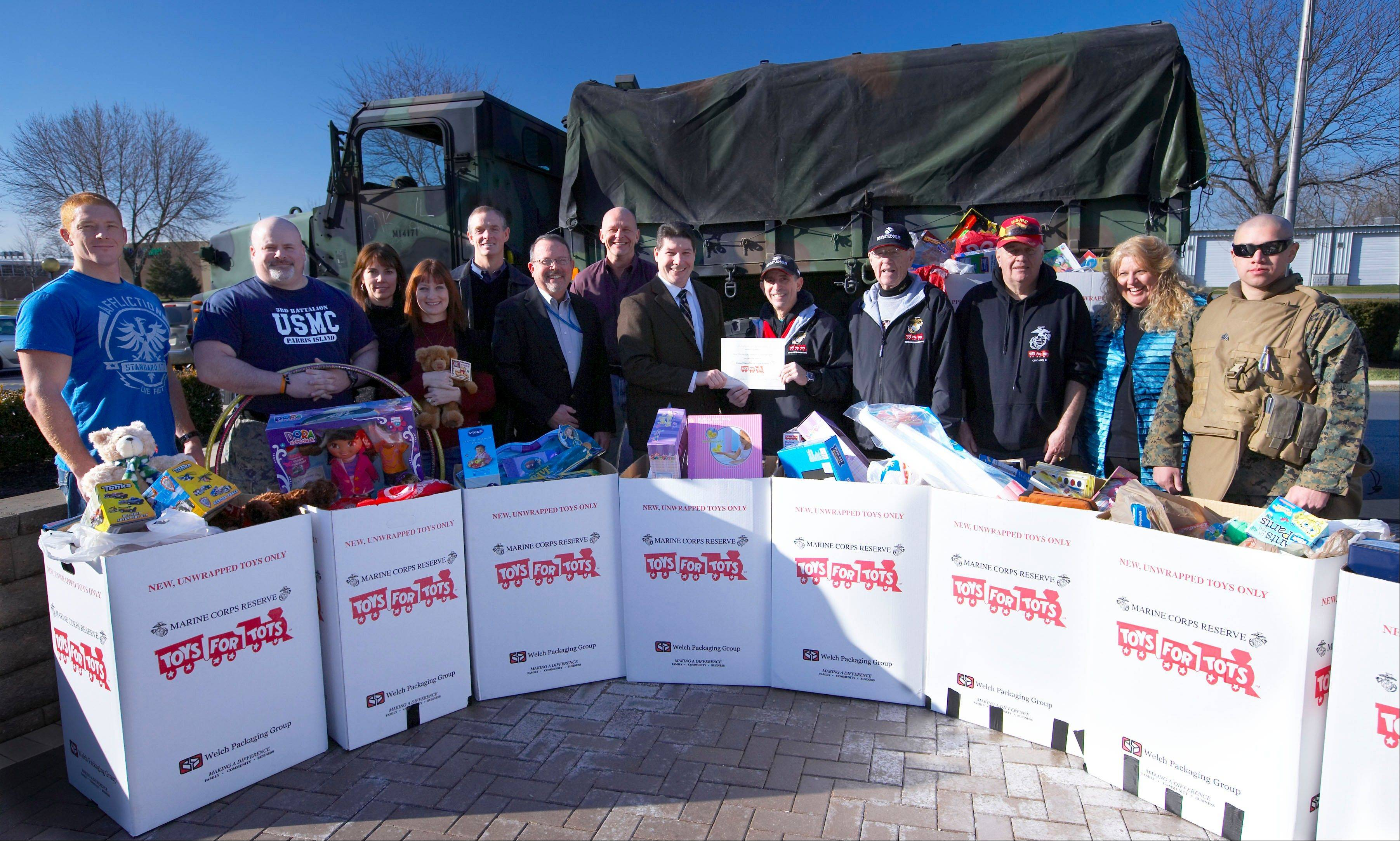 Showing their generosity, Northrop Grumman employees at the Rolling Meadows campus donated more than 10 large boxes of gifts to the U.S. Marine Corps Reserve Toys for Tots program.