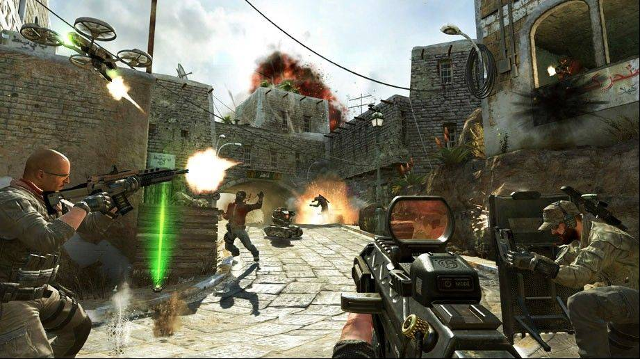 "This undated publicity image released by Activision shows soldiers and terrorists battling in the streets of Yemen in a scene from the video game, ""Call of Duty: Black Ops II."" Video-game violence has come under increased scrutiny after the killing of 26 people, including 20 children, in a Connecticut elementary school last week."