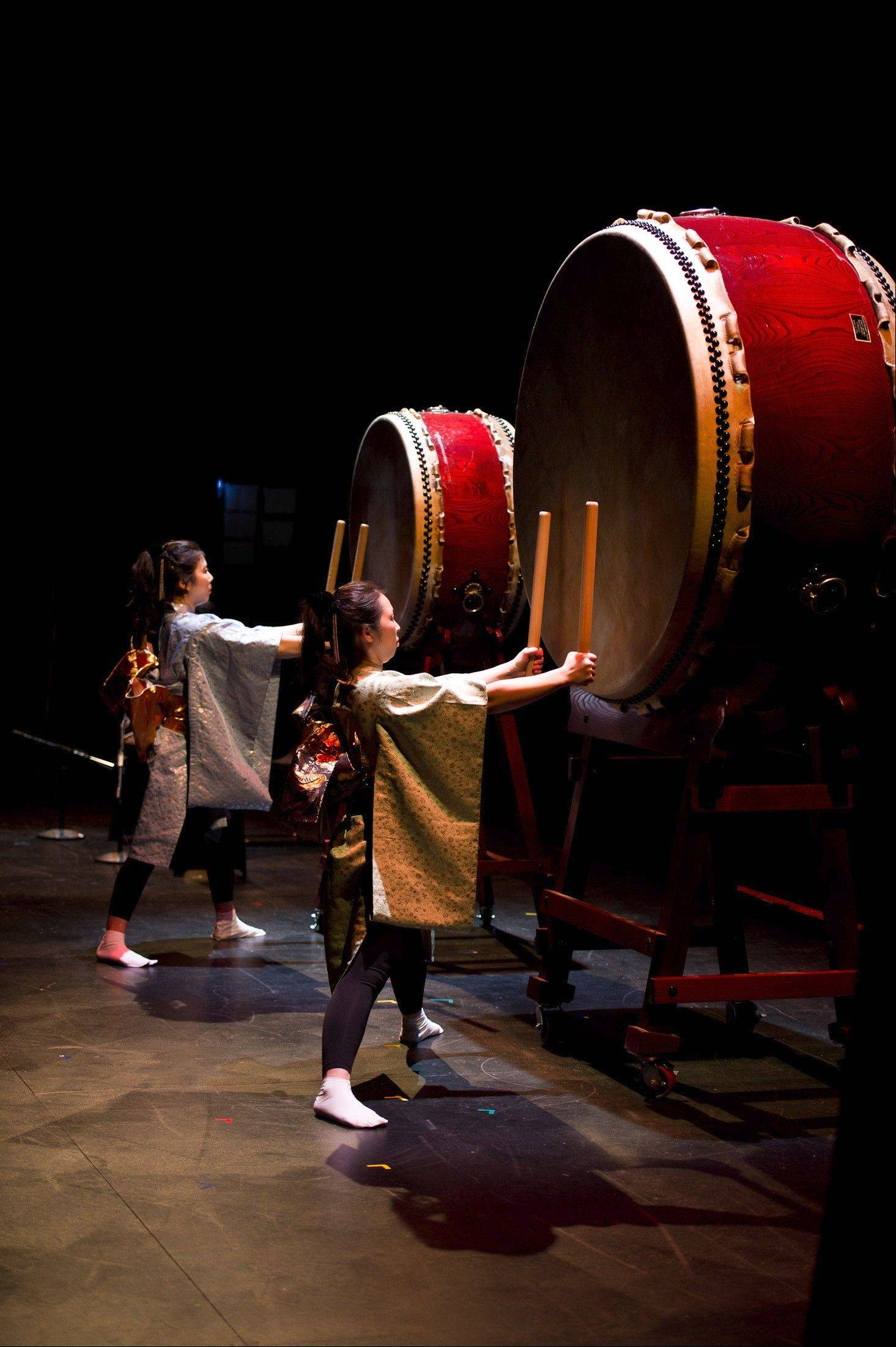 "Members of Tsukas Taiko perform ""Taiko Legacy 9"" at the MCA Stage in Chicago."