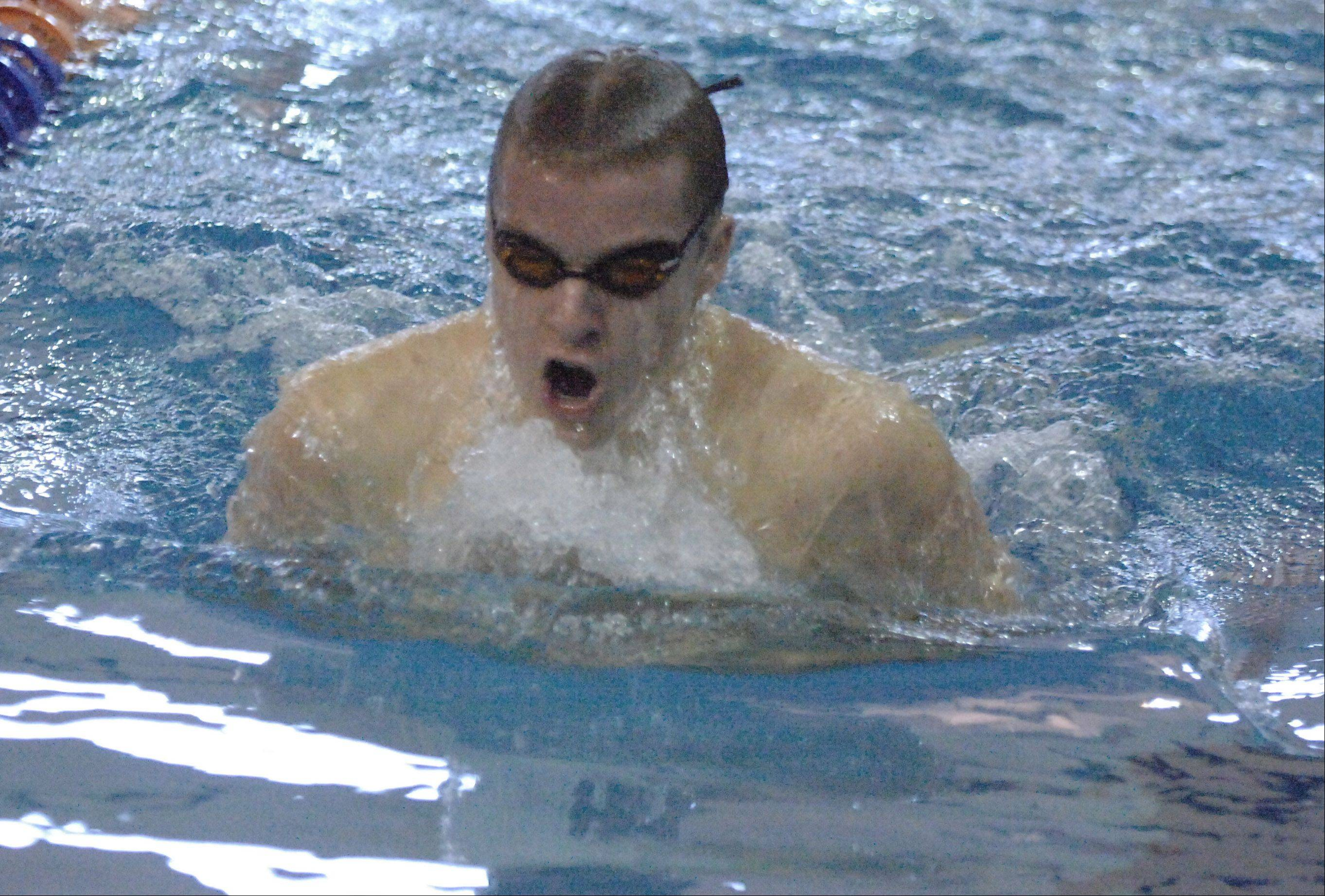 Nick Kanute of CADET swims the 400 medley relay during the Naperville North College Events boys swimming invitational Saturday.