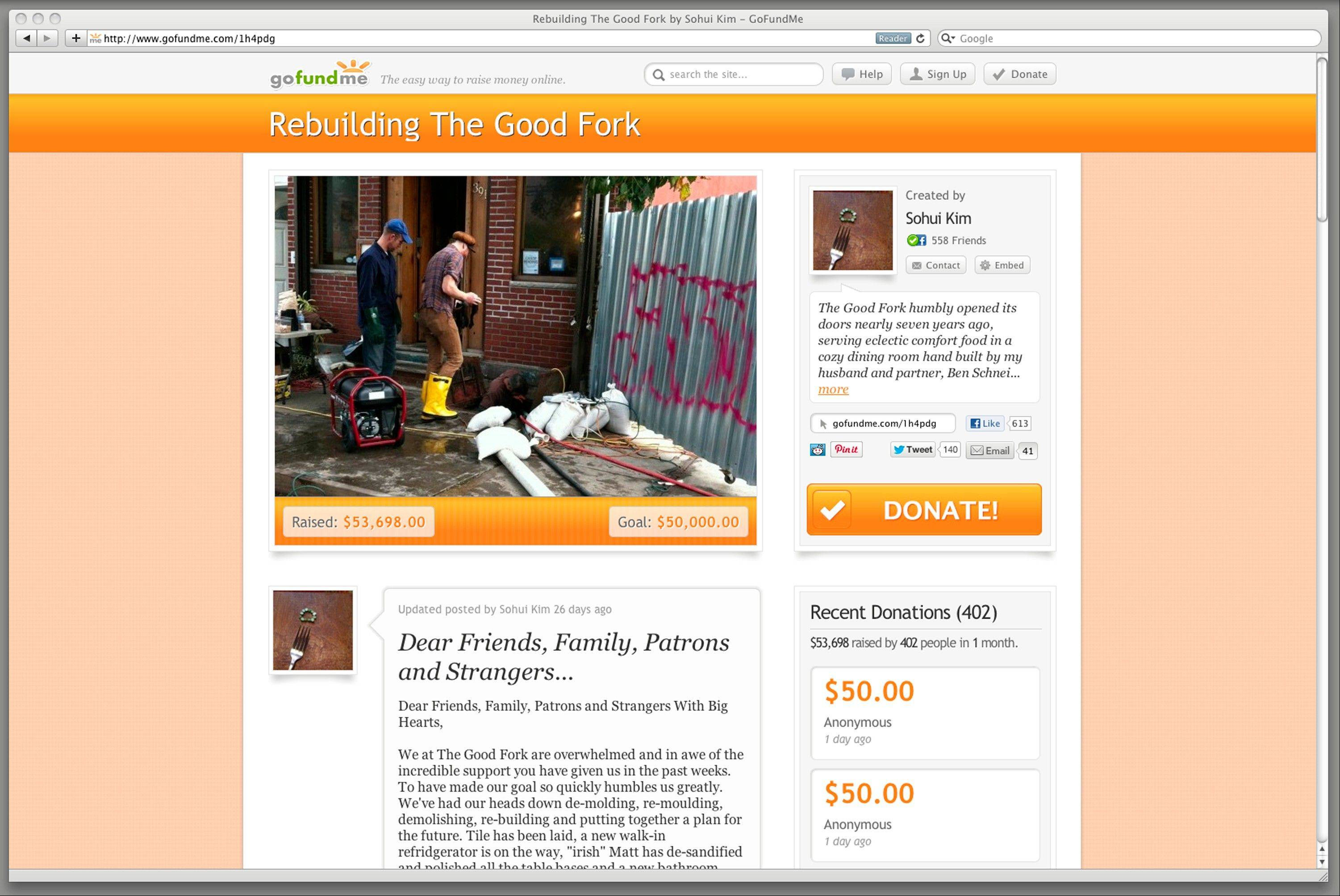 This Dec. 19, 2012 image shows a frame grab of gofundme.com. This web page solicits donations to rebuild a New York restaurant, The Good Fork. In the aftermath of Superstorm Sandy, some who lost their homes or businesses have turned to crowd-funding websites.