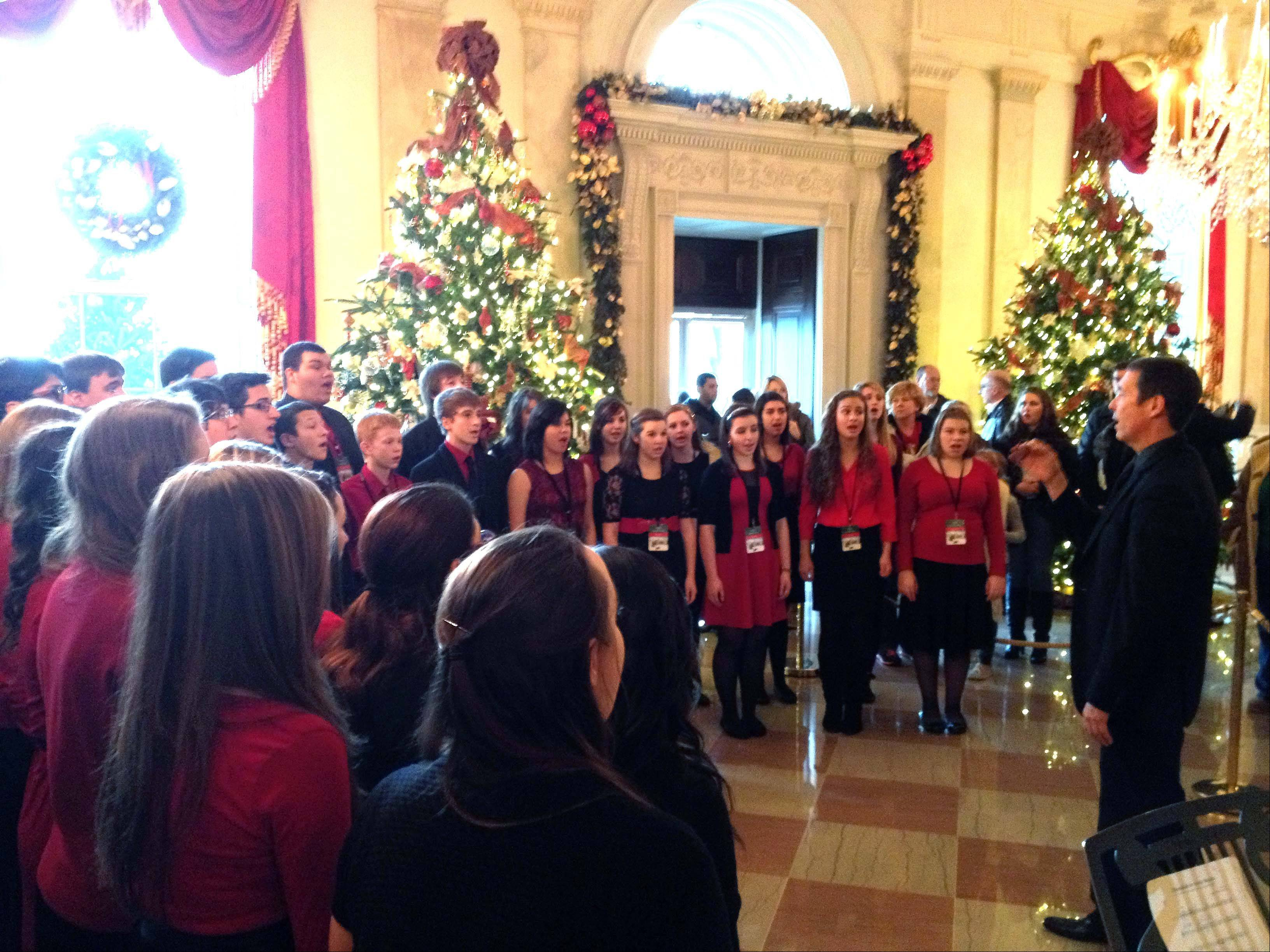 The Palatine High School Choir's Midnight Blues group performed Saturday at the White House in Washington, D.C.