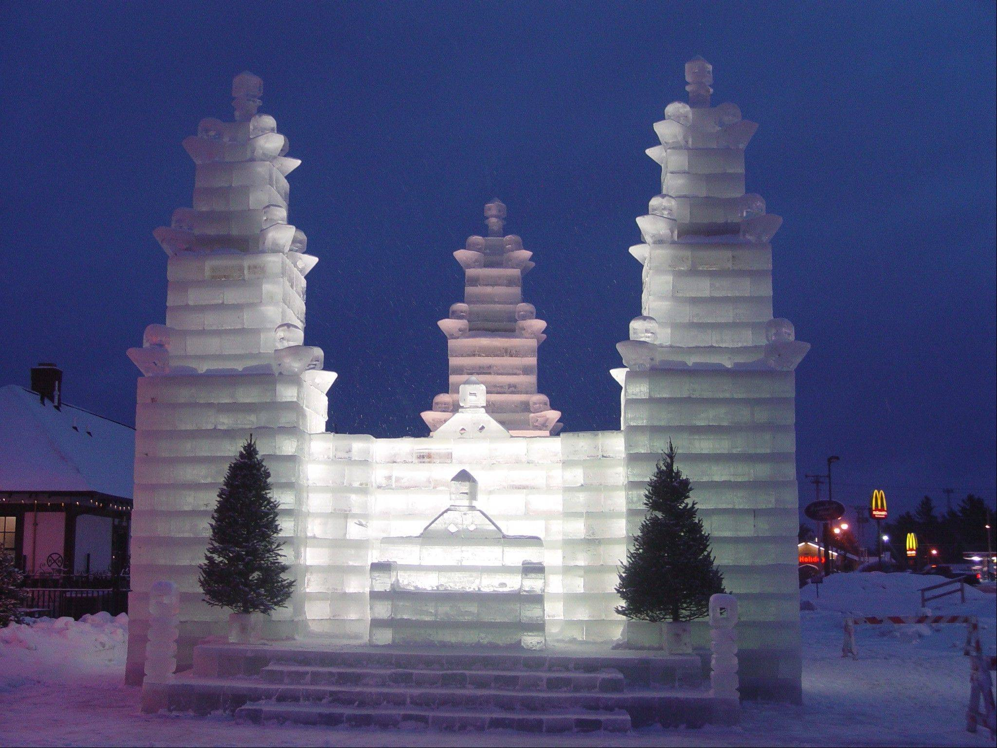 The ice castle in Eagle River, Wis., stays up until the end of February.
