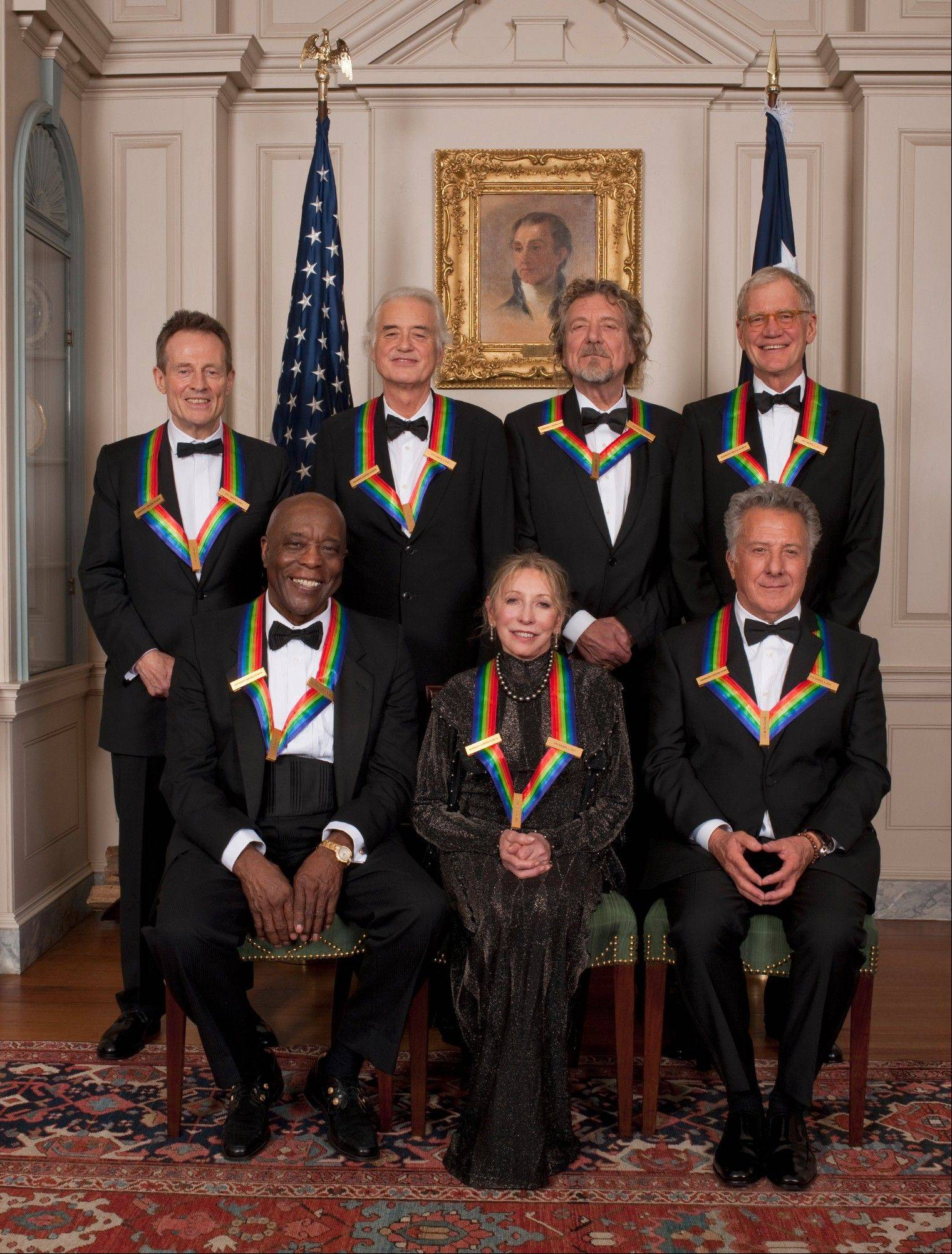 """The 35th Annual Kennedy Center Honors"" this year celebrates the accomplishments of Chicago bluesman Buddy Guy, front left, ballerina Natalia Makarova, actor Dustin Hoffman, rock band Led Zeppelin and comedian David Letterman. The show will air Wednesday, Dec. 26, on CBS."