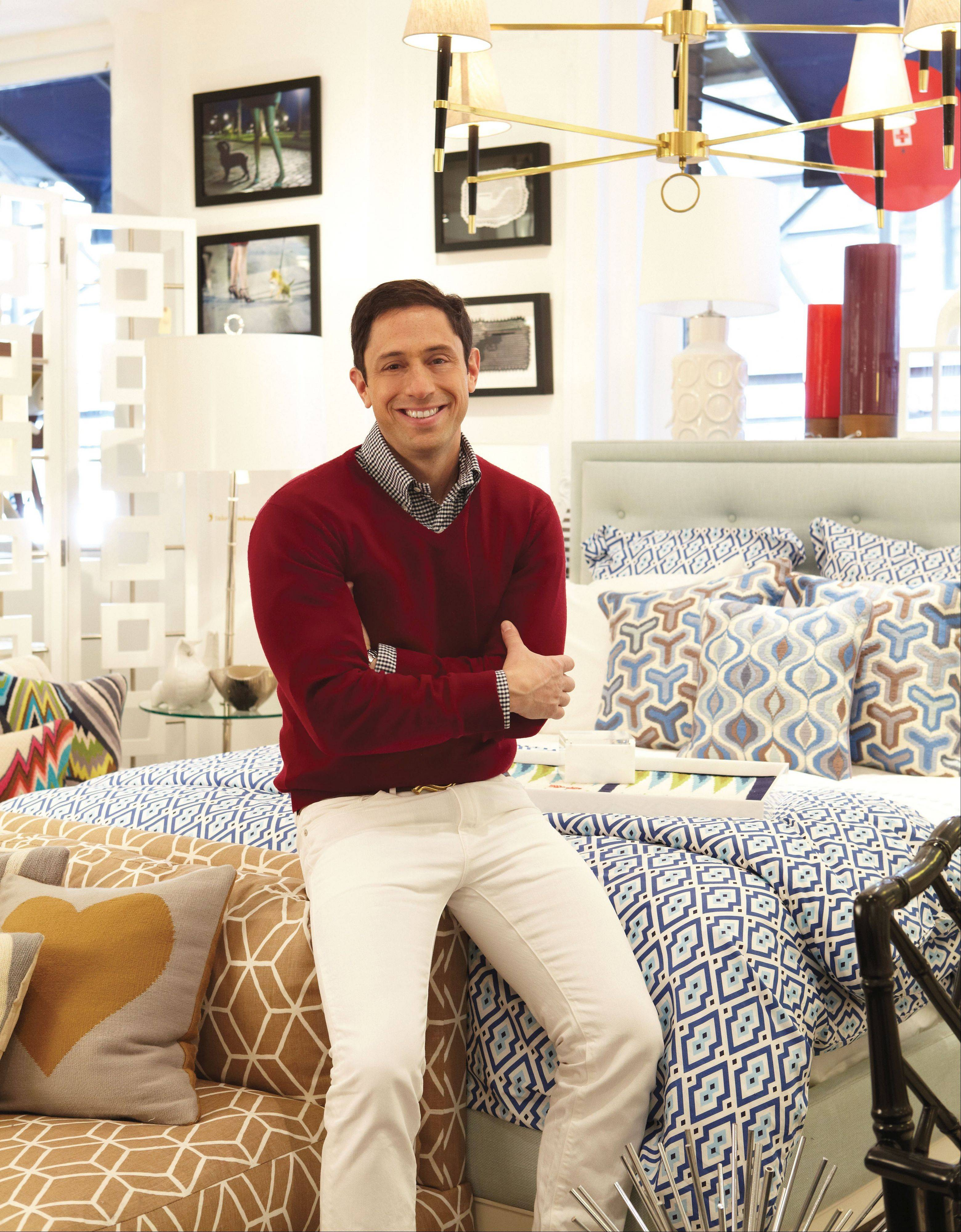 Jonathan Adler fills his home with color year-round, but offers some eclectic tips for colorful holiday decor.