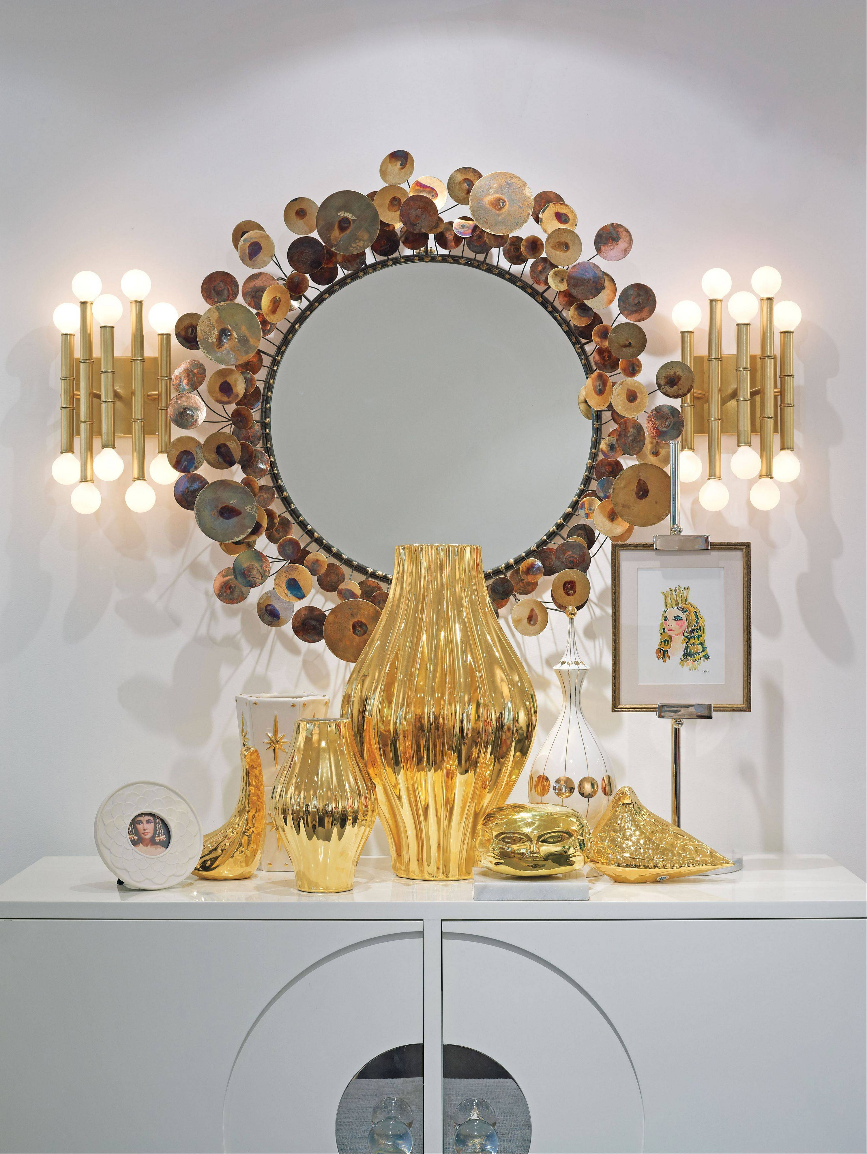 Metallics play a large part in Jonathan Adler's decor.