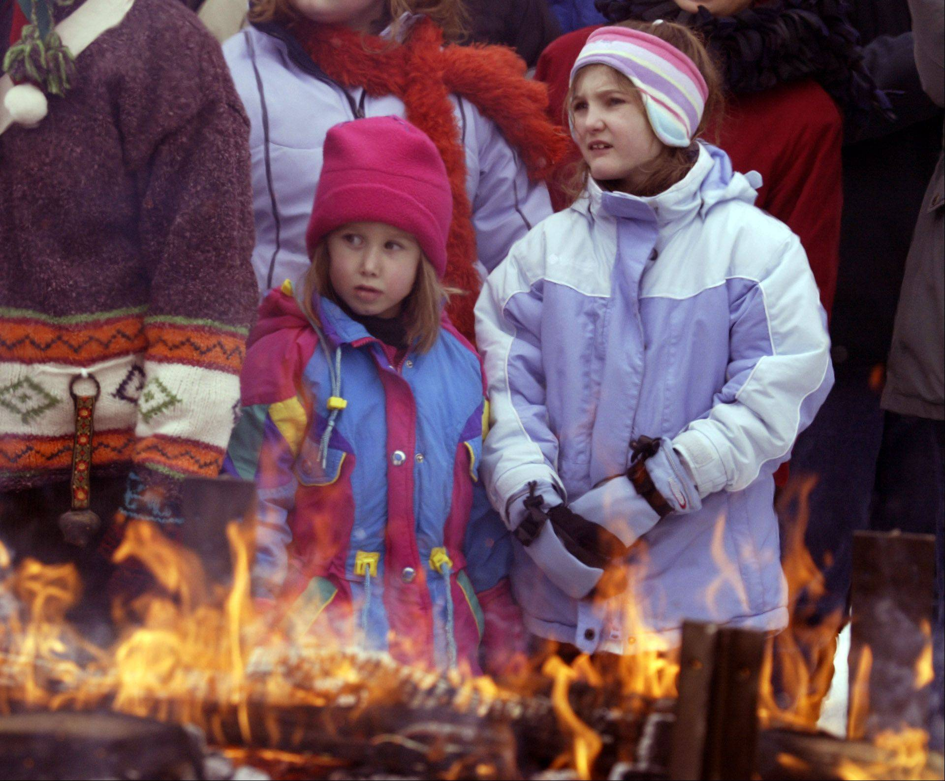 Hundreds of visitors try to sort through complicated and funny clues to be the first to find the 6-foot yule log hidden on the grounds of the Morton Arboretum.
