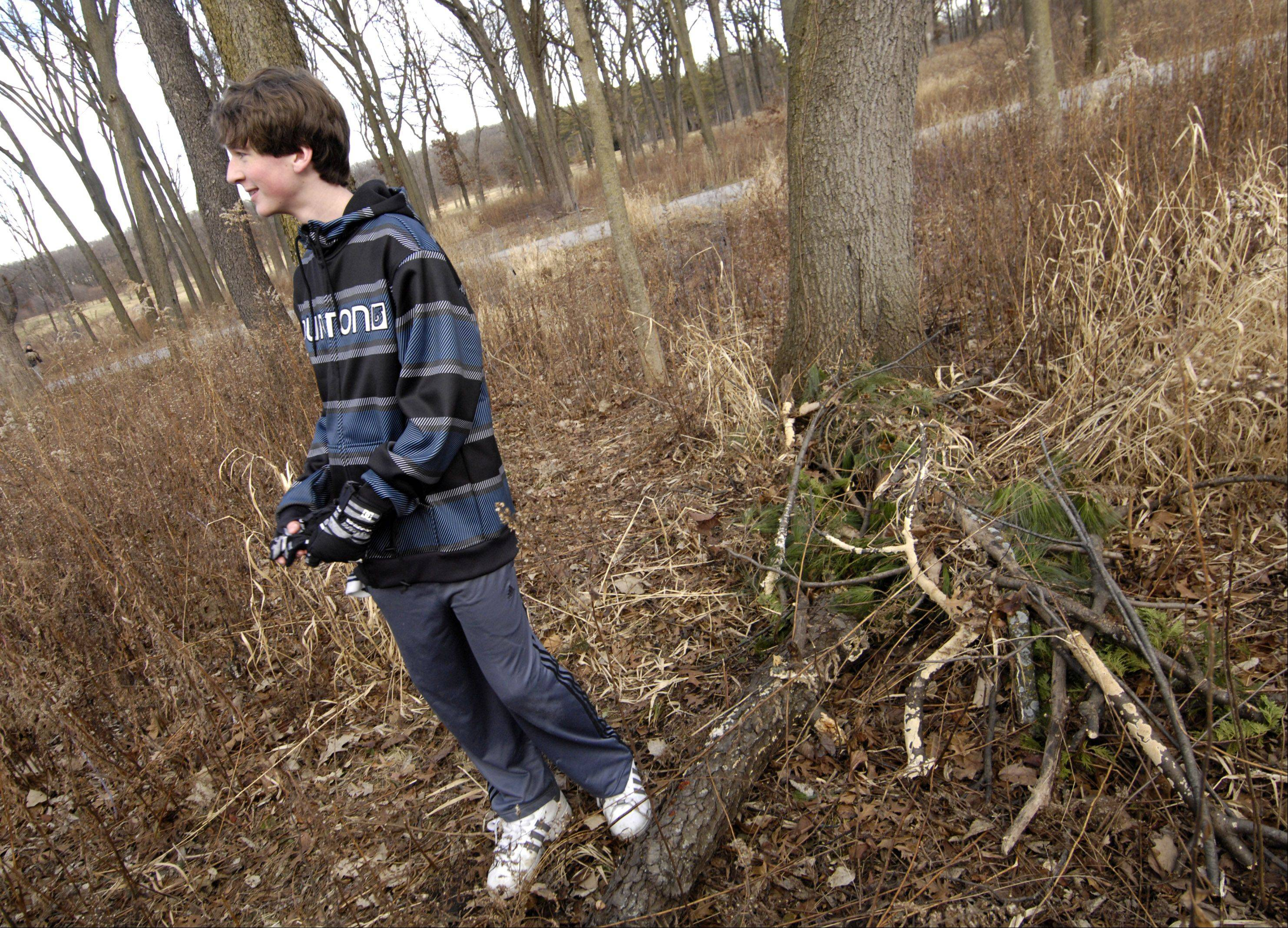 Ryan Todd of Naperville has been the first person to find the yule log in each of the past two years at the Morton Arboretum in Lisle.