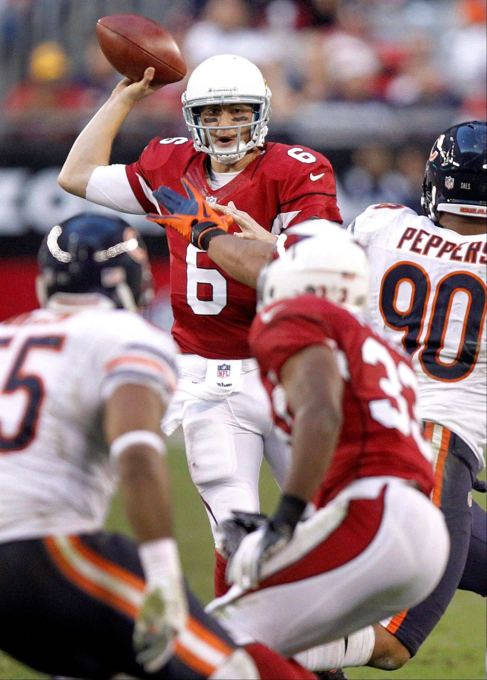 Arizona Cardinals quarterback Brian Hoyer looks to pass against the Chicago Bears during the second half.