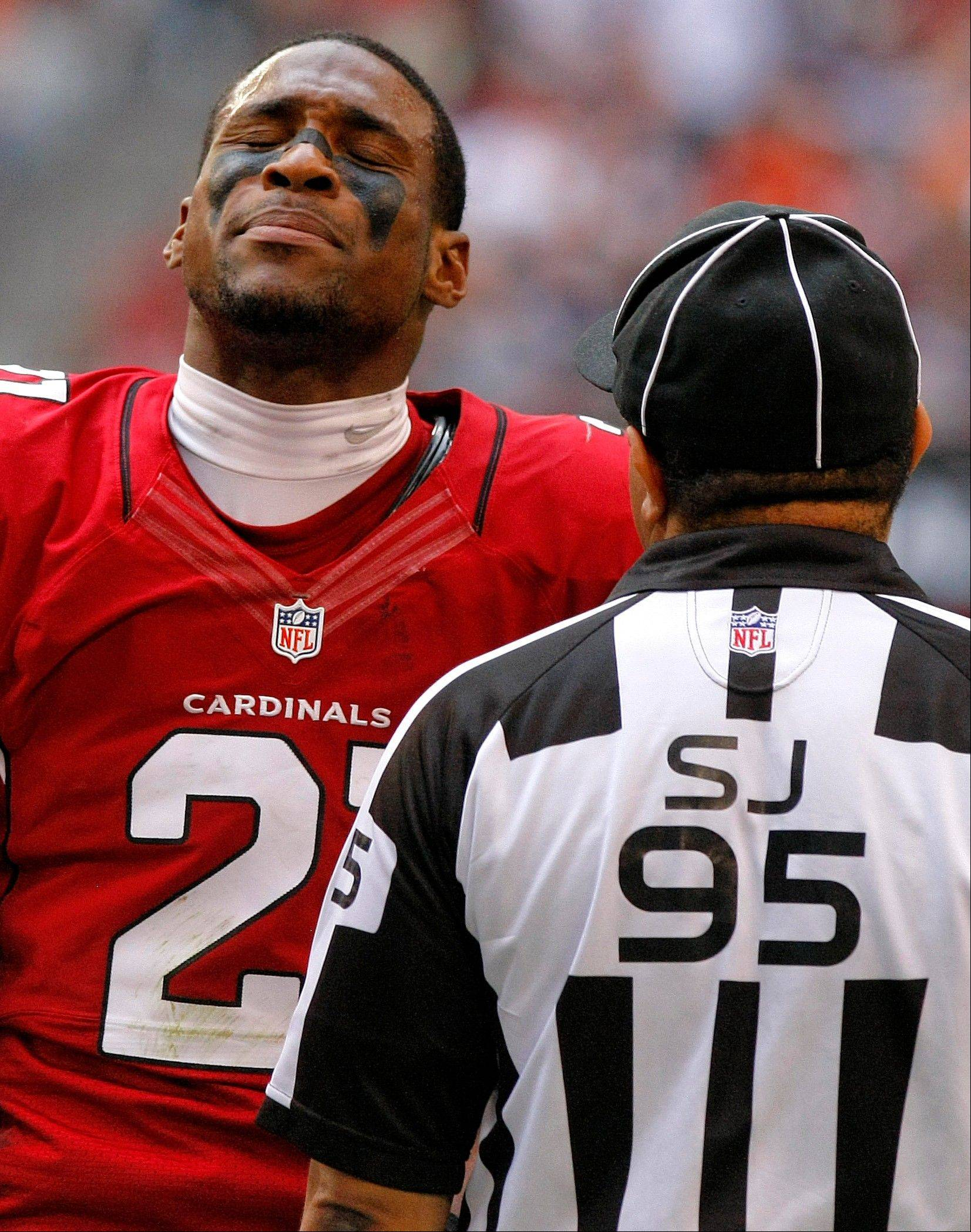 Arizona Cardinals cornerback Patrick Peterson reacts to side judge James Coleman's call during the first half.