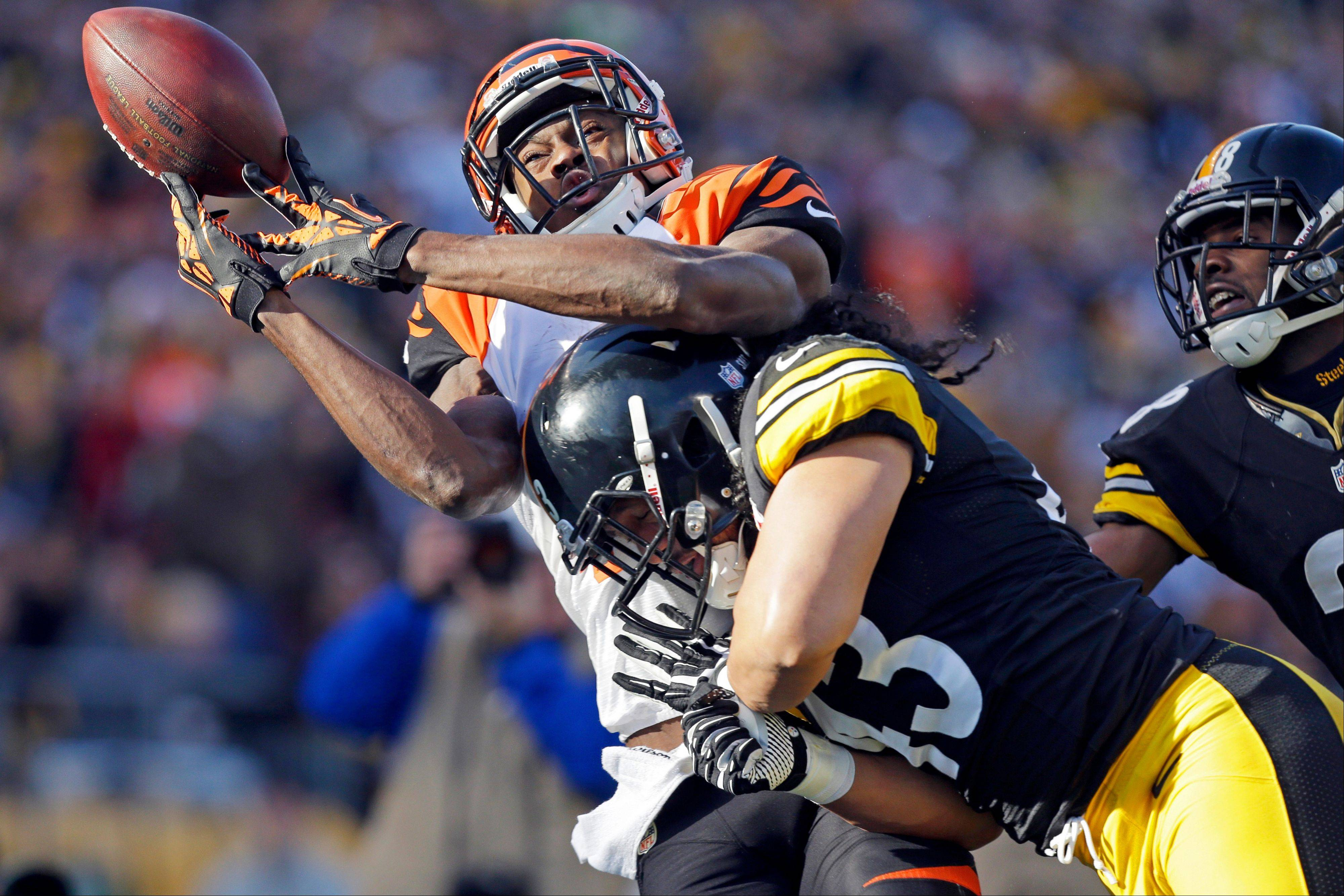Cincinnati Bengals wide receiver A.J. Green (18) is hit by Pittsburgh Steelers strong safety Troy Polamalu (43) as he tries to catch a pass in the second quarter of an NFL football game in Pittsburgh, Sunday, Dec 23, 2012. The pass was incomplete.