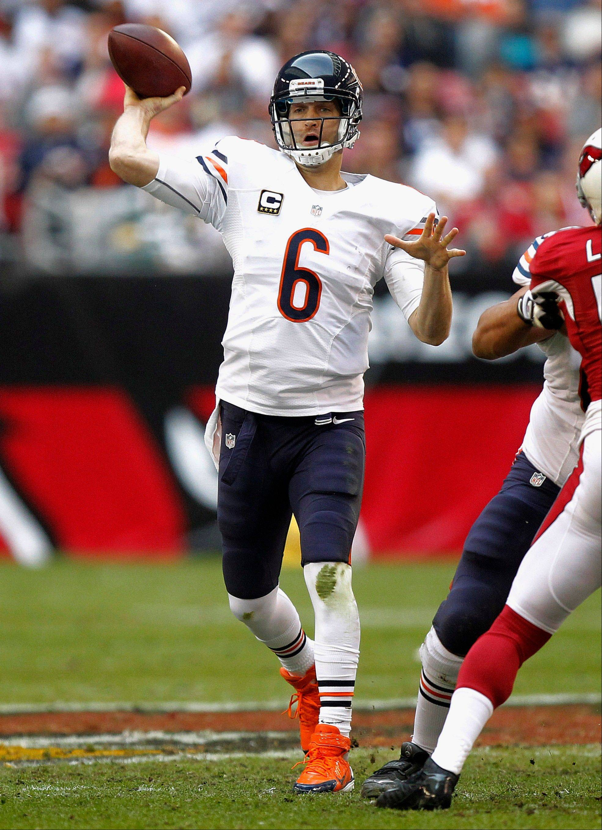 Bears quarterback Jay Cutler completed only 1 of his first 11 passes Sunday at Arizona. He finished with a passer rating of 76.8, the third straight game he was under 80.