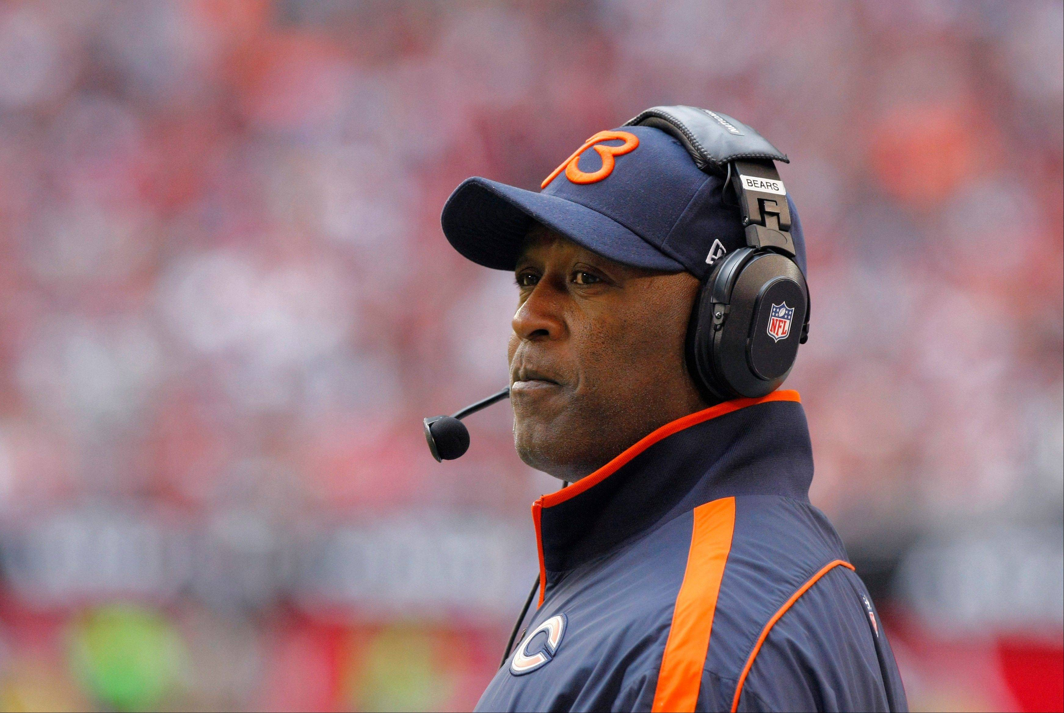 Bears coach Lovie Smith watches his team during Sunday's season-saving (so far) victory at Arizona.