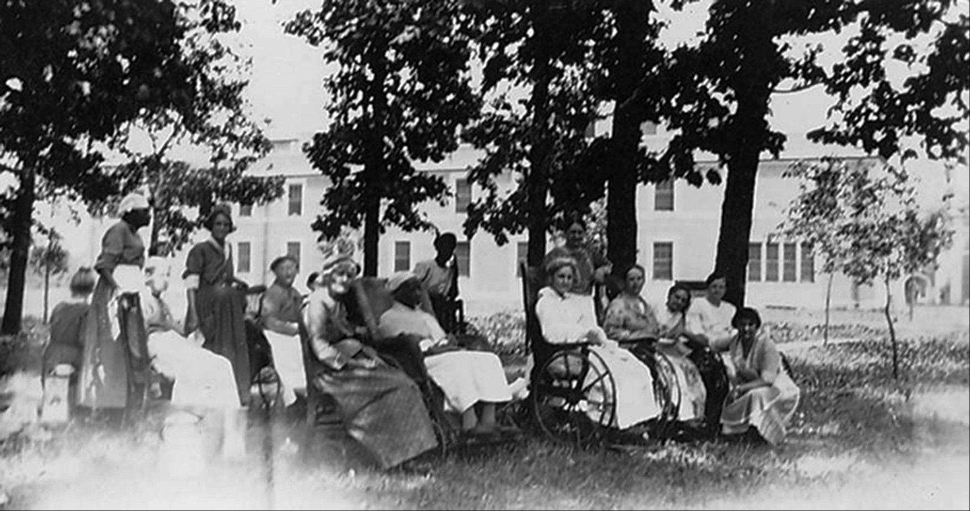 Oak Forest Hospital patients and nurses enjoy the outdoors around 1950. The Oak Forest Heritage Preserve site has served as working farm, an infirmary and, from 1910 until 1971, the burial ground for Cook County�s indigents.