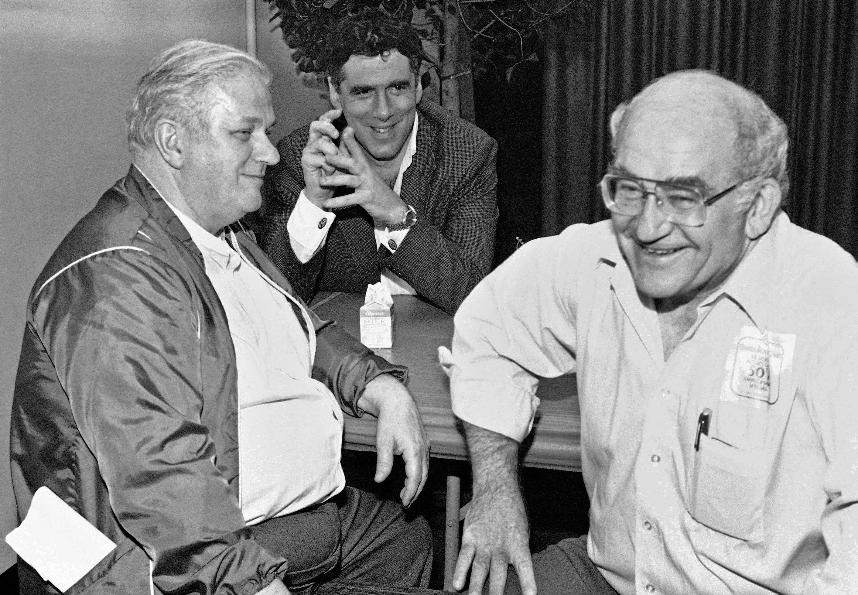 In this Saturday, March 3, 1984 file photo, from left, actors Charles Durning, Eliott Gould and Screen Actors Guild President Ed Asner take a break before the filming of the 50th Anniversary Special celebrating the guild in Santa Monica, Calif. Durning, the two-time Oscar nominee who was dubbed the king of the character actors for his skill in playing everything from a Nazi colonel to the pope, died Monday, Dec. 24, 2012 at his home in New York City. He was 89.