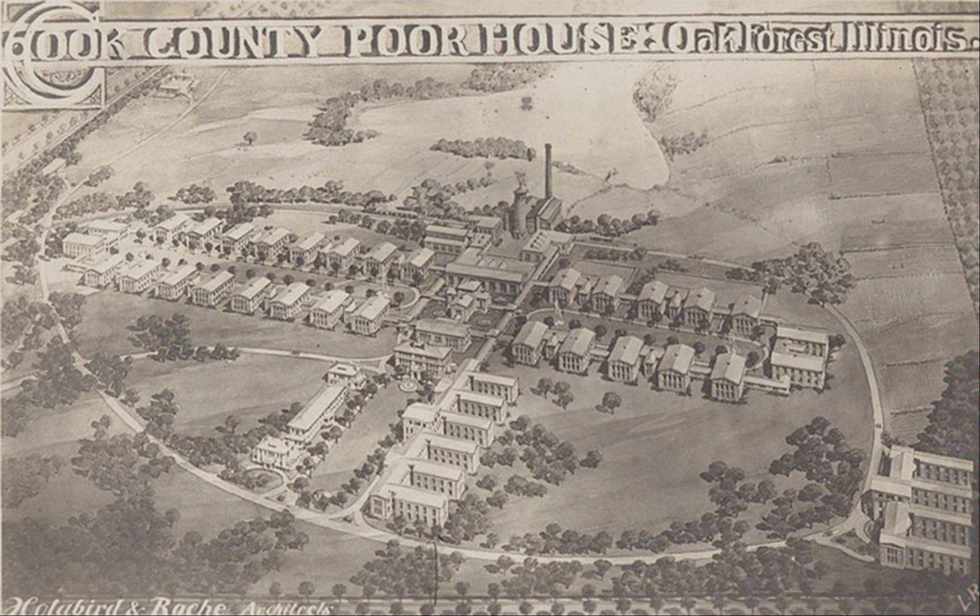 "An architect's rendering from the early 20th century is labeled ""Cook County Poor House Oak Forest Illinois."""