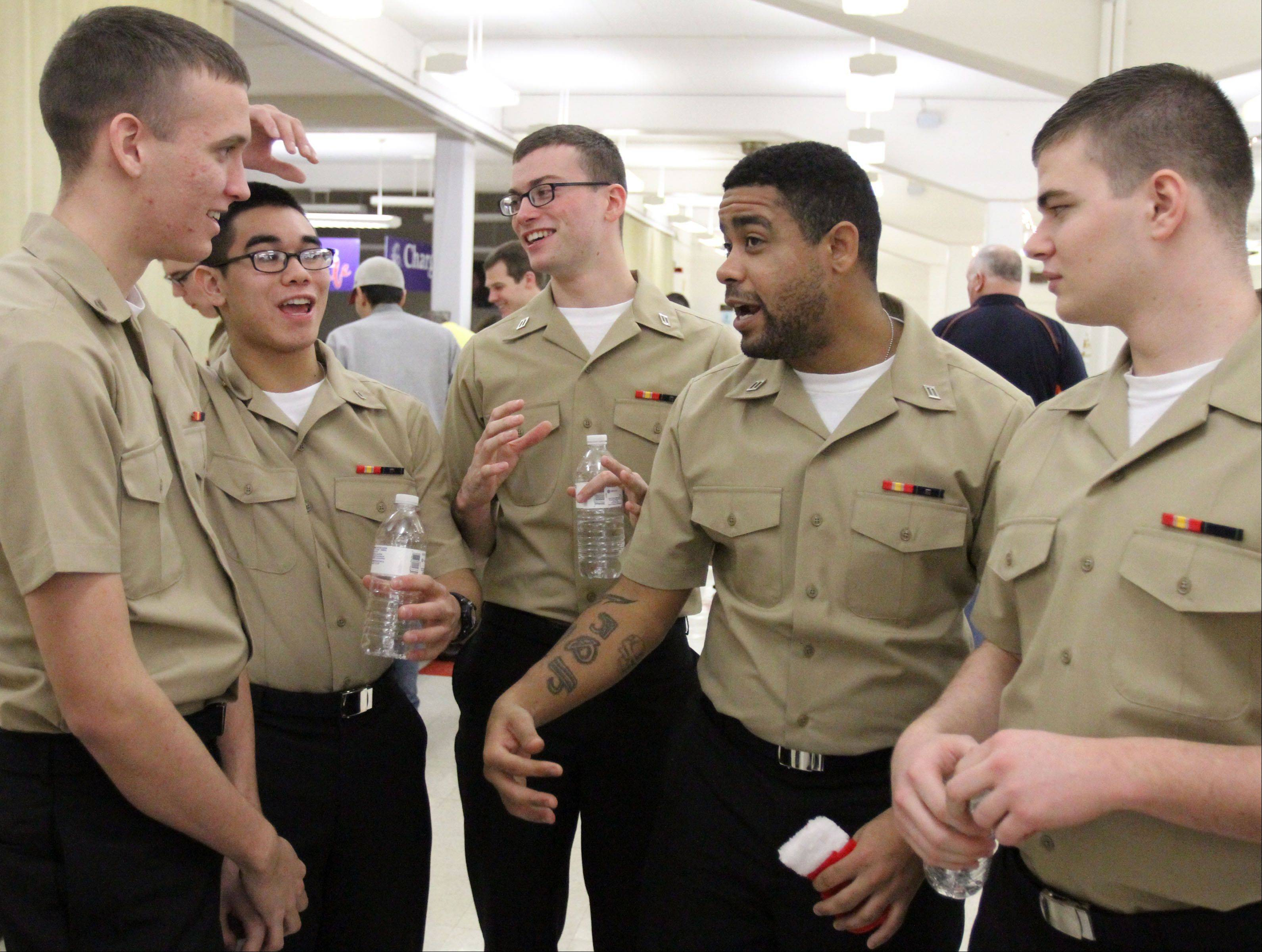 U.S. Navy recruits got to enjoy the simple things in life, like laughing it up with co-recruits. One recruit said his jaw was hurting from so much laughing, which he hadn't been able to do much during training.