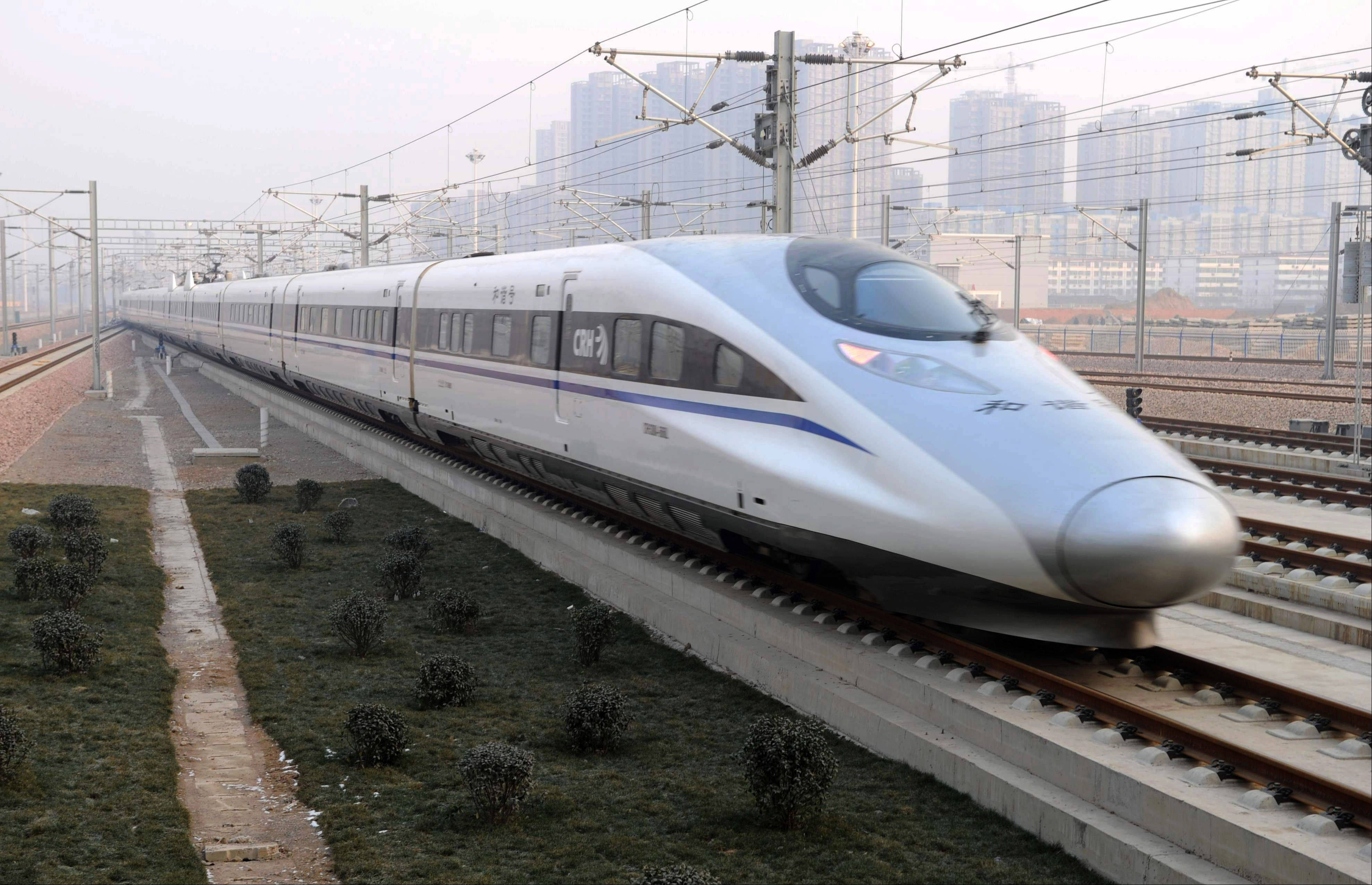Associated Press A high-speed train G802 leaves for Beijing from Shijiazhuang, capital of north China�s Hebei Province.