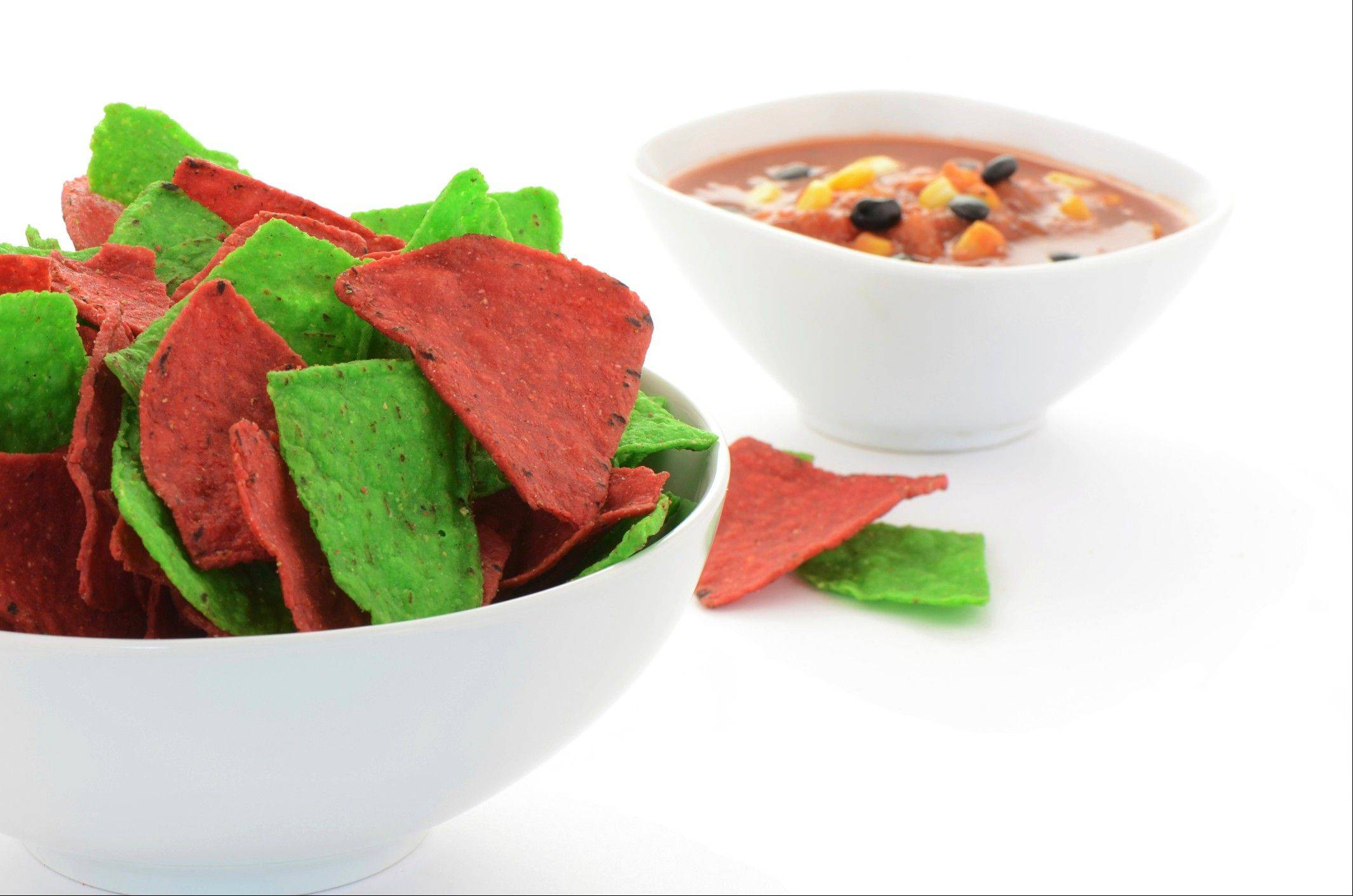 Red and green tortilla chips are really no healthier than the white or yellow varieties.