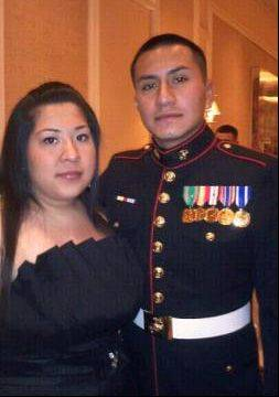 Cpl. Alex Martinez and his wife. Martinez, of Elgin, was killed in Afghanistan in April.
