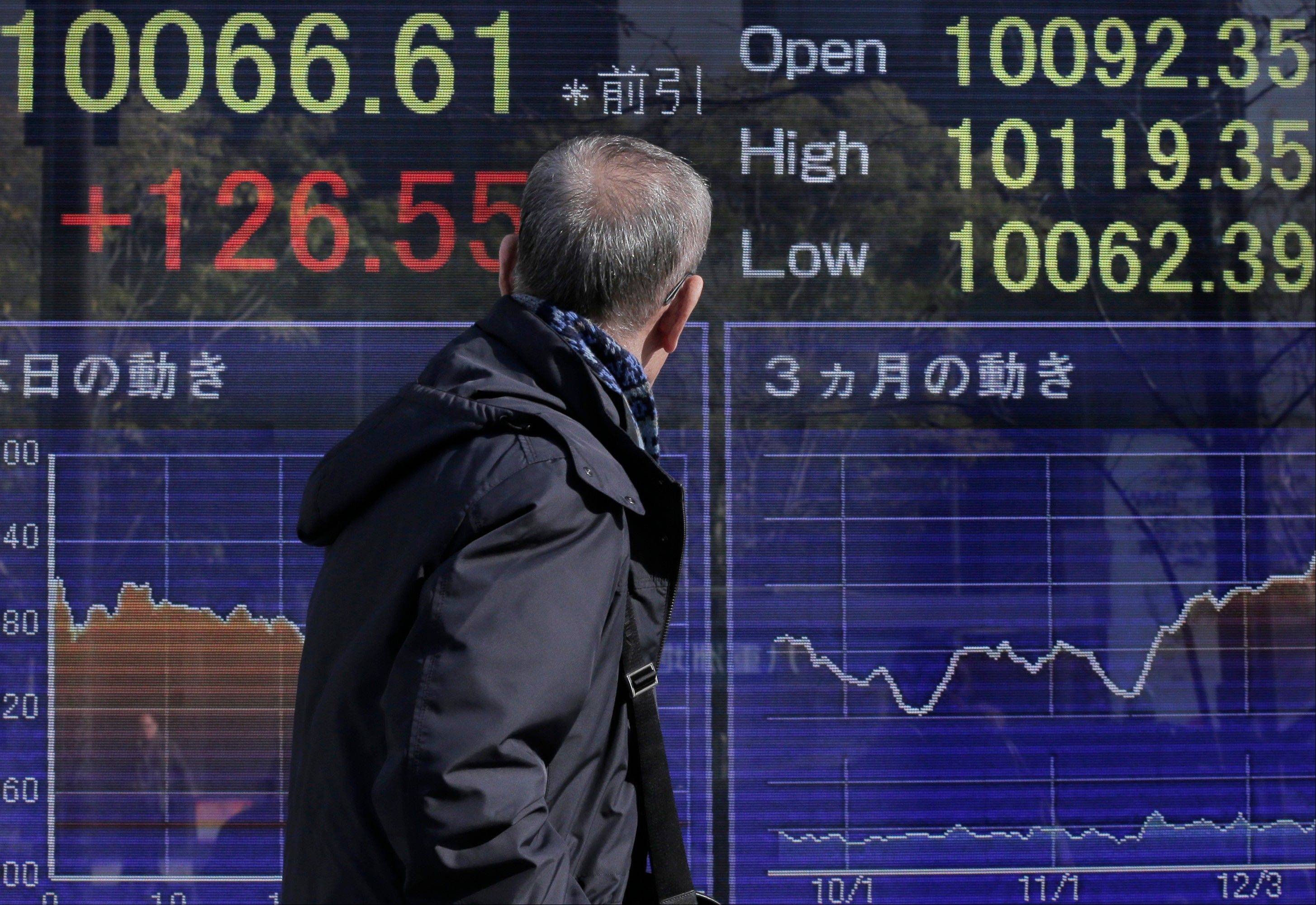 A man walks in front of the electronic stock board of a securities firm showing Japan's Nikkei 225 index that rose 126.55 points to 10,066.61 in Tokyo Tuesday.