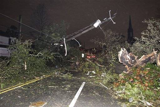 Dauphin Street at North Carlen Street in the Midtown section of Mobile, Ala. is impassable after a tornado touched down Tuesday.