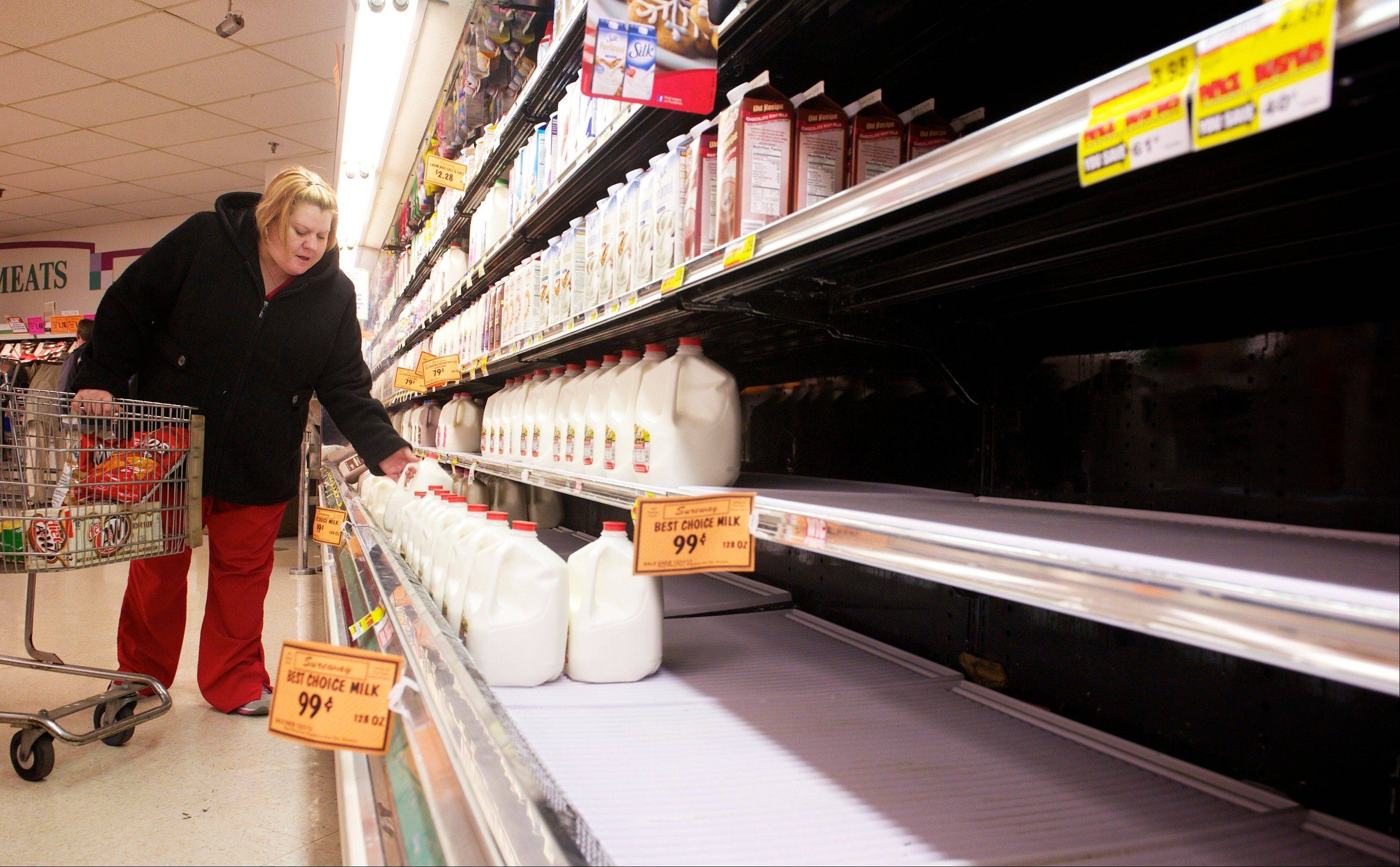 With the store shelves thinning out, Christie Wilson, Sebree, grabs a gallon of milk as shoppers at Sureway Eastgate, in Henderson, stock up before the forecasted blizzard hits late Christmas evening, Tuesday, Dec. 25, 2012.