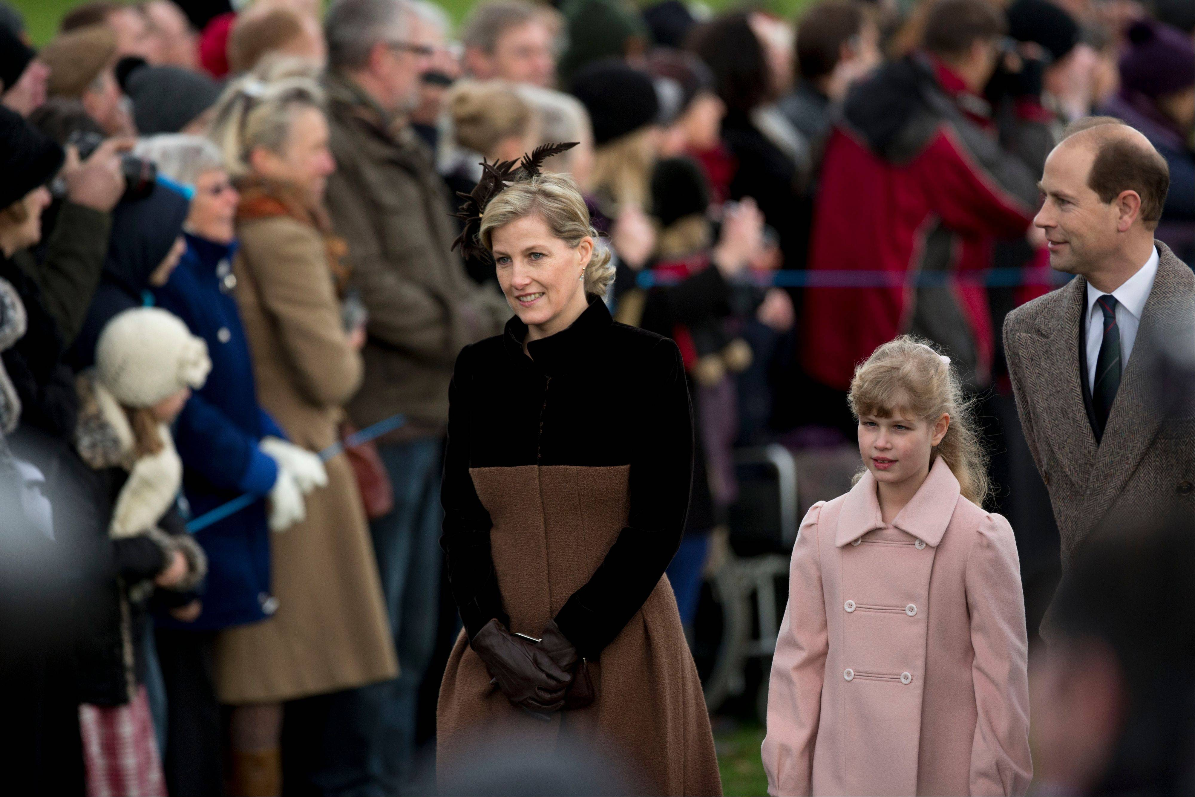 The son of Britain's Queen Elizabeth II, Prince Edward, his wife Sophie Countess of Wessex and their daughter Louise arrive for the British royal family's traditional Christmas Day church service in Sandringham, England, Tuesday, Dec. 25, 2012.