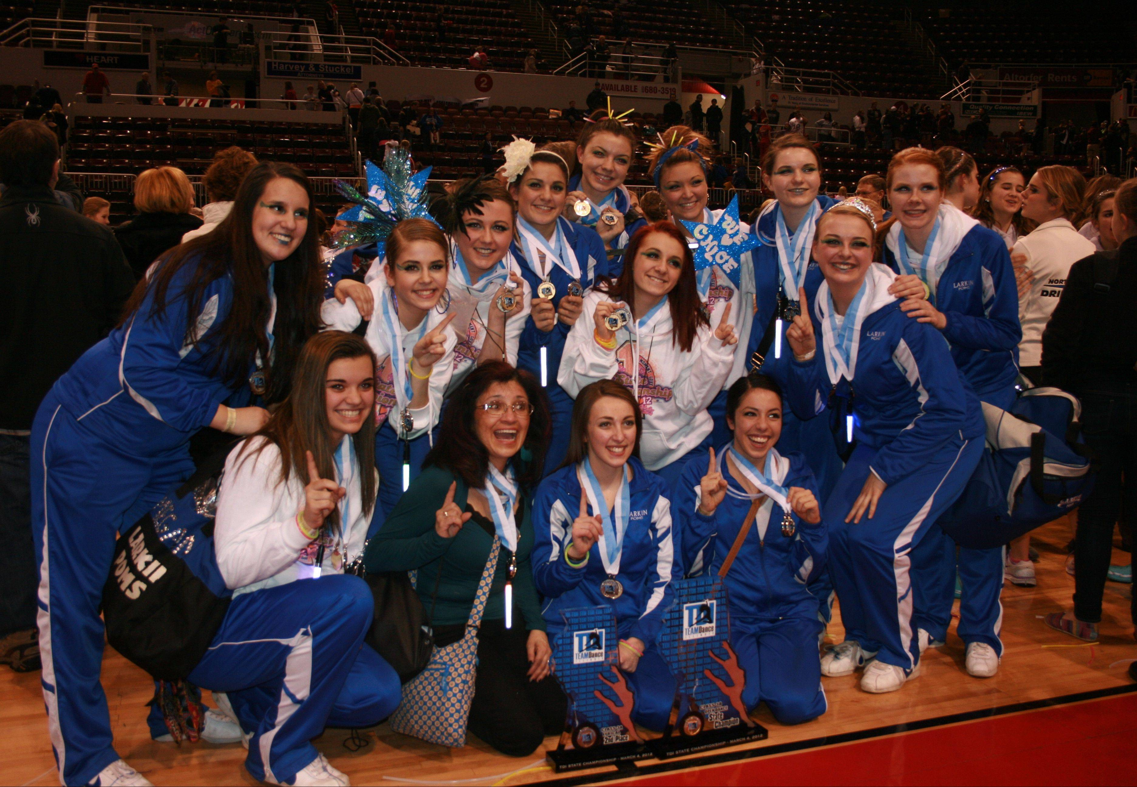 The 2011-2012 Larkin High School Poms won first place in the 3A open dance category at the state finals last March. Bottom row, from left: Student manager Megan Malone; coach Laura Newmeyer; former captain Briana Ripoli; former captain Jordan Maijala. Middle row, from left: Chloe Hamilton; Brenna Fulin; Aine Naughton; Madison Cherry; Julia Burch. Top, from left: Liz McKee; Micaela Bender; Chloe Petramale; Dakota Judson and team manager Cayley Norton. Mika McCullough and Alexis Jorgensen are not pictured.
