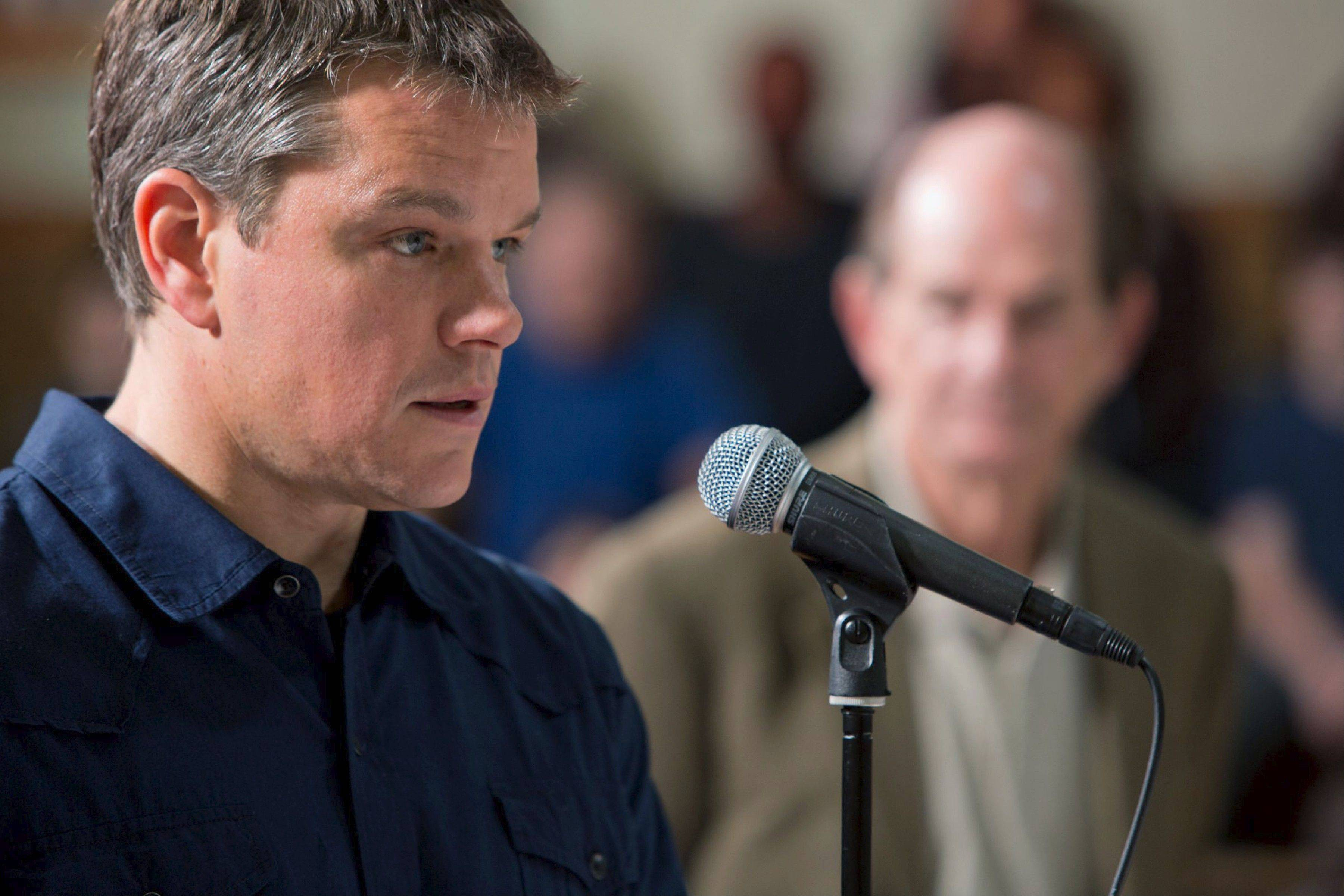 "Global gas spokesman Steve Butler (Matt Damon) tries to persuade a small Pennsylvania town to let his company drill for oil in Gus Van Sant's ""Promised Land."""