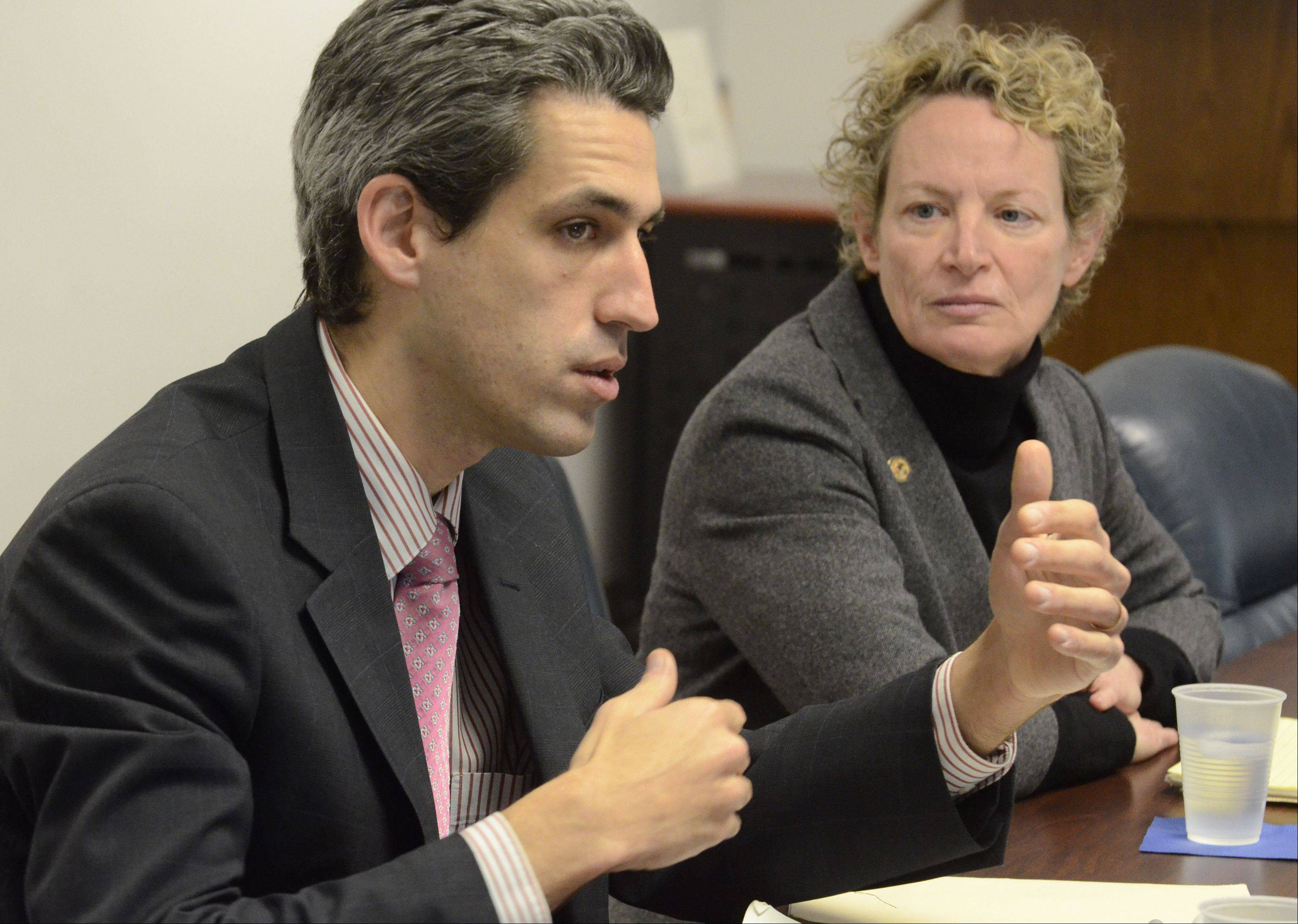 Illinois State Reps. Daniel Biss and Elaine Nekritz talk about pension reform with the Daily Herald Editorial Board earlier this month.