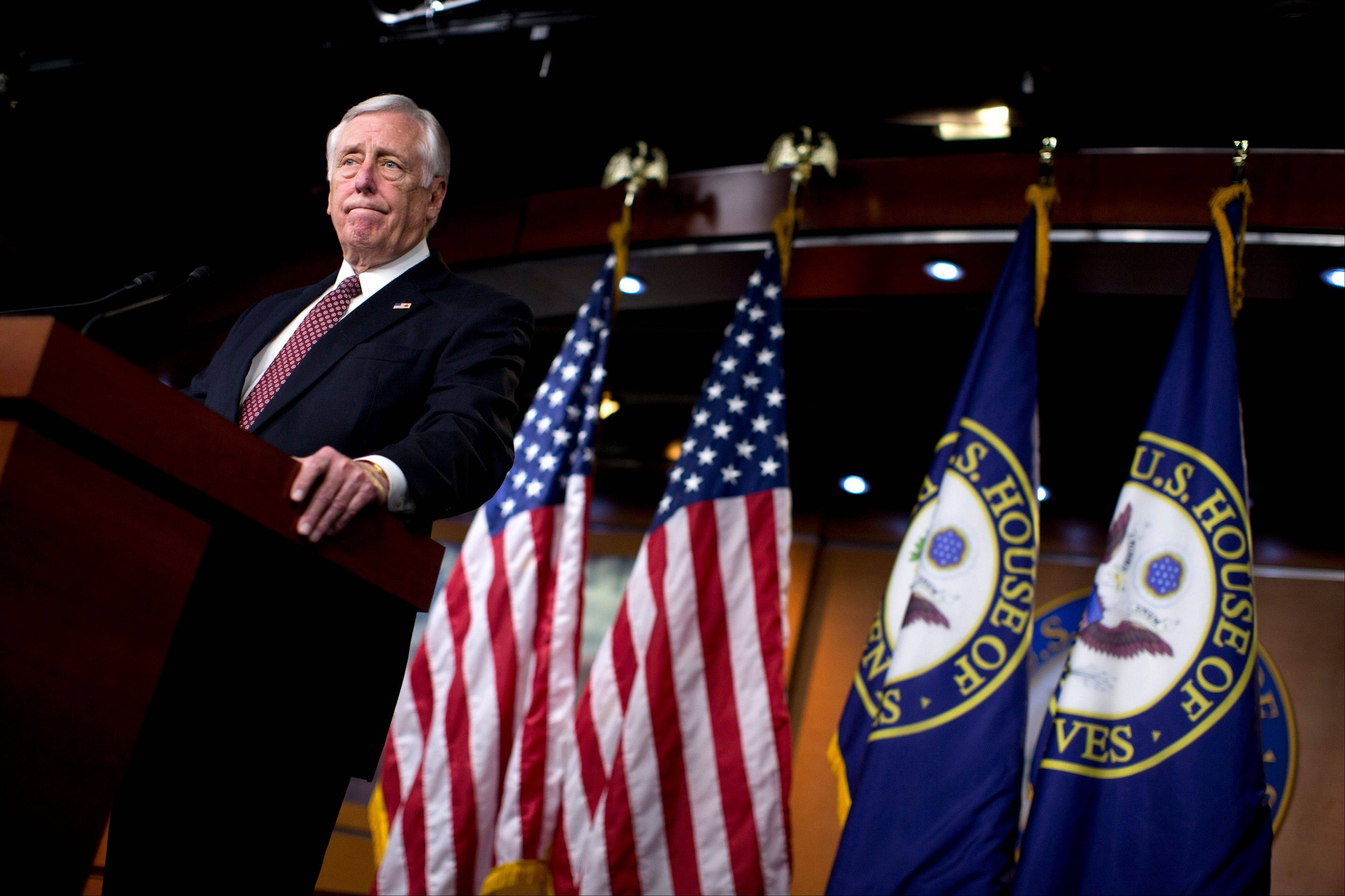 House Minority Whip Rep. Steny Hoyer of Md., pauses during a news conference on Capitol Hill in Washington, Thursday, Dec. 27, 2012, where he urged House Republicans to end the pro forma session and call the House back into legislative session to negotiate a solution to the fiscal cliff.
