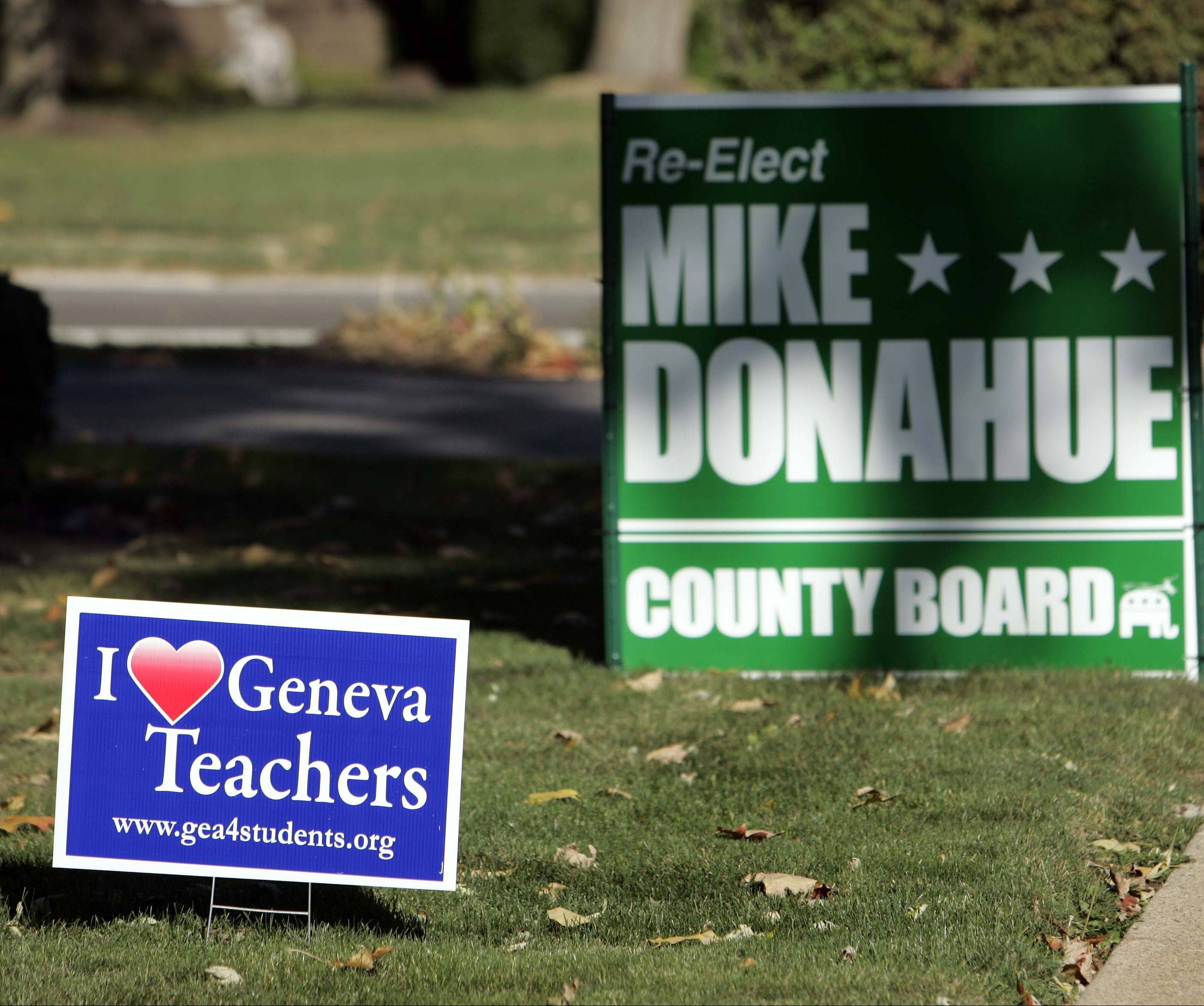 Signs supporting Geneva teachers along Kaneville Road this fall. According to the Geneva school district, the Geneva Education Association declared contract talks at an impasse, but was eventually able to reach an agreement for a new three-year contract the night before a scheduled strike.