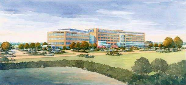 A rendering of the 128-bed hospital Centegra Health System will start building in Huntley. The hospital will be completed in 2016 and create about 1,100 jobs.