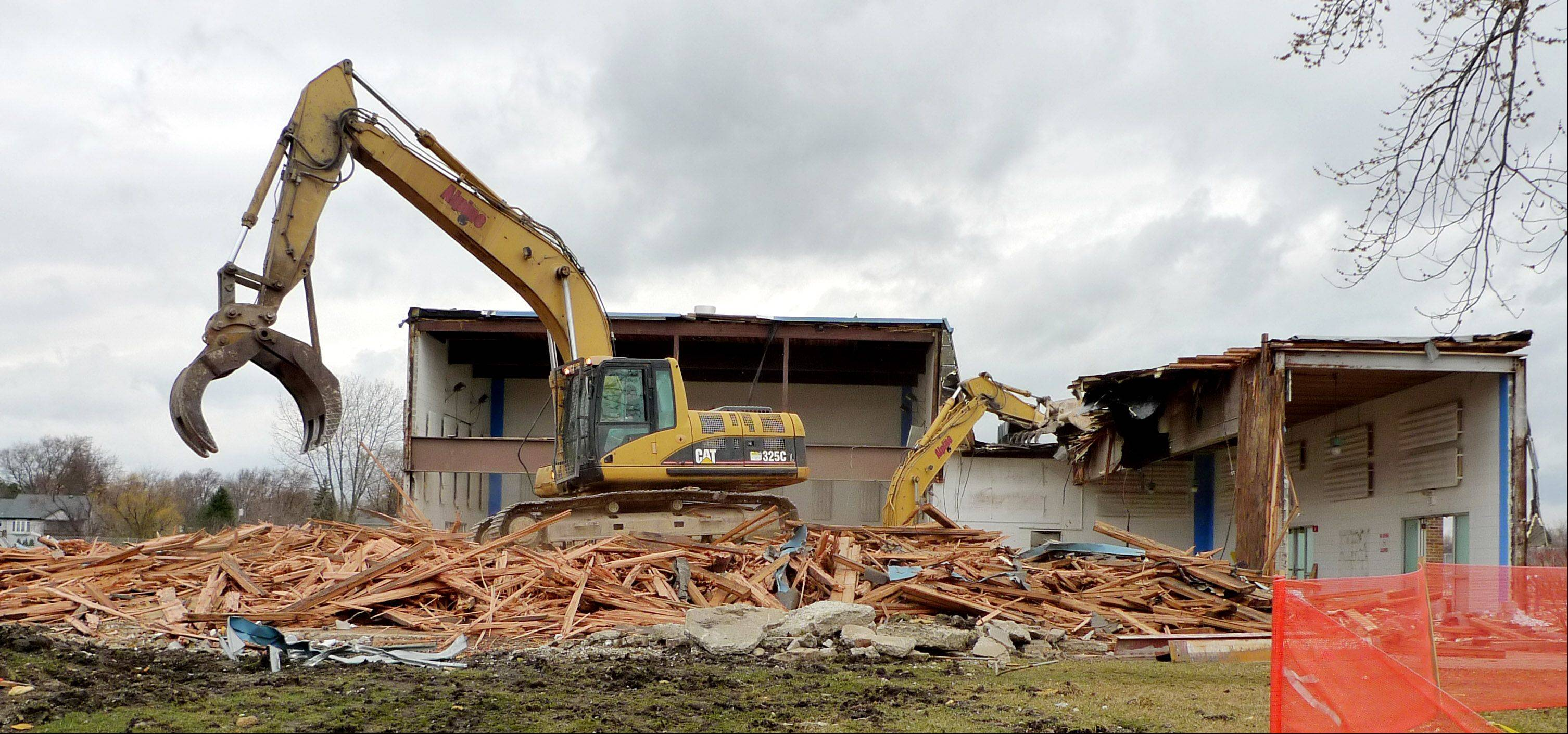 The Aldrin Community Center in Carol Stream went under the wrecking ball to make way for a flood-control project.