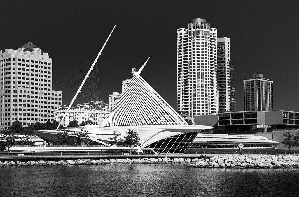 "Jerry Hug's ""Milwaukee Skyline,"" winner of the January Print of the Month Award."