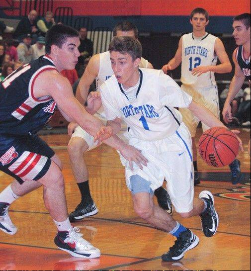 St. Charles North�s Alec Goetz drives against West Aurora.