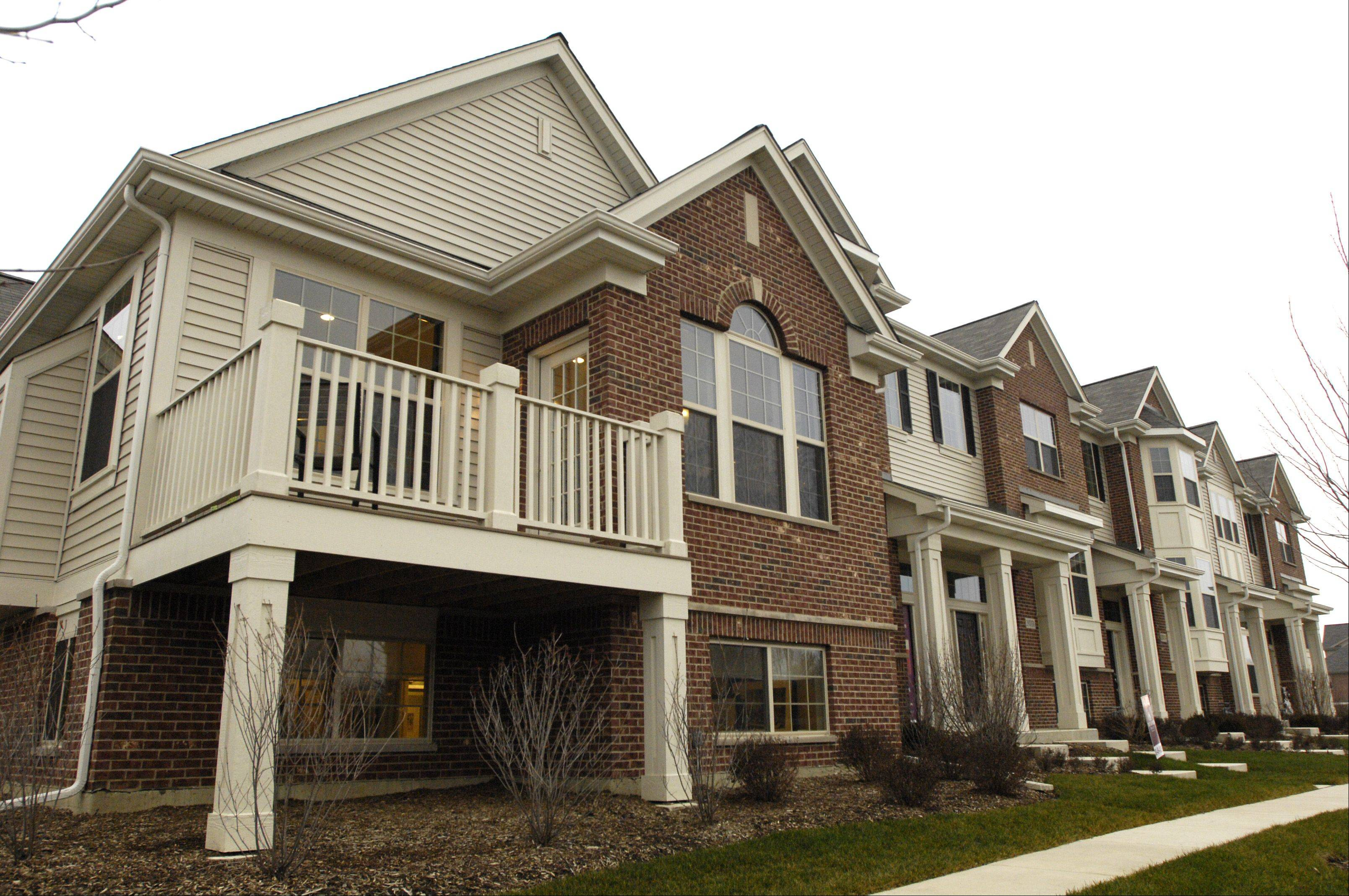 This row of townhouses in the at Shelburne Crossing neighborhood includes the Diversey model.