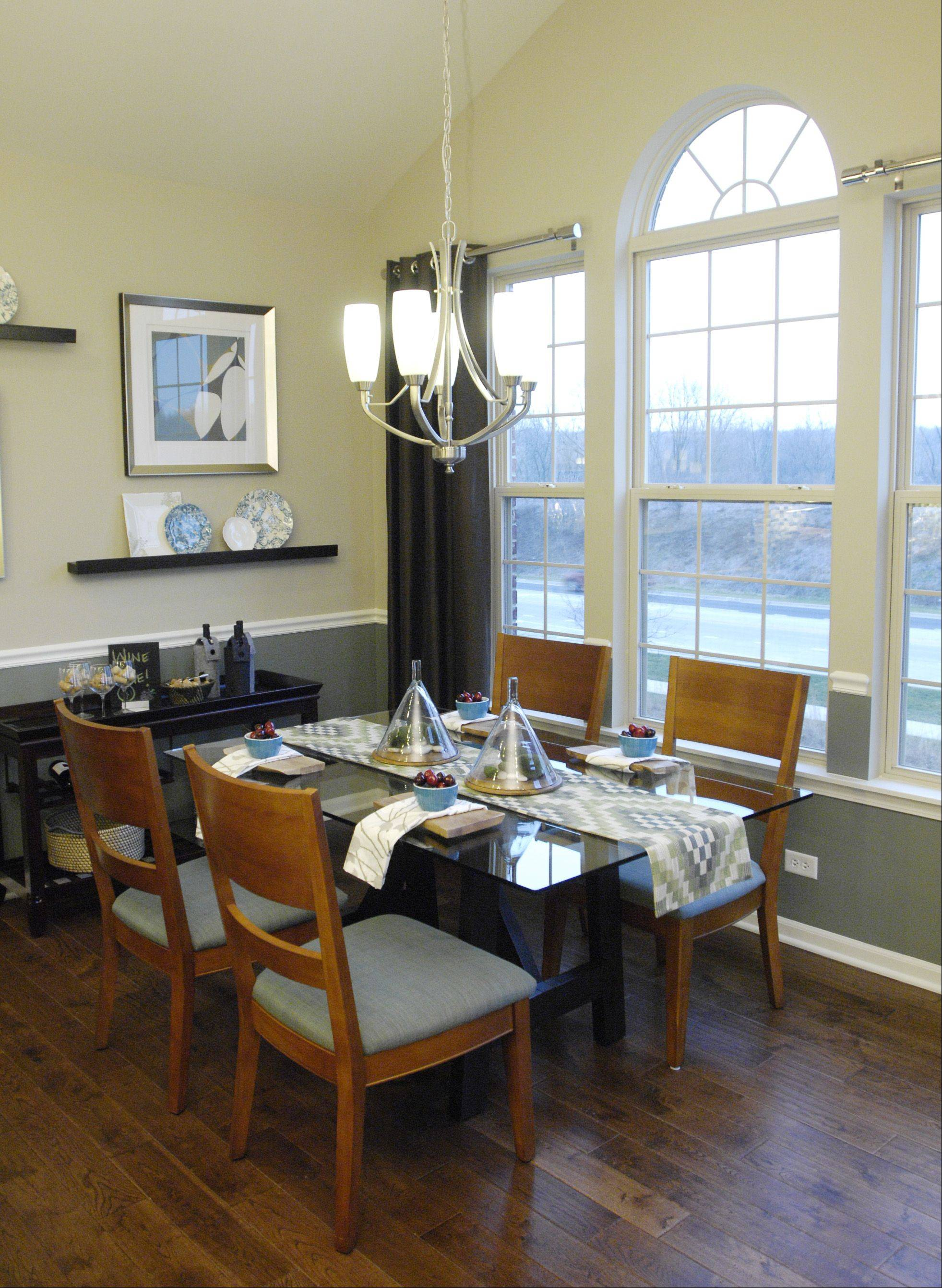 The dining room in the Diversey model at the Shelburne Crossing subdivision in Winfield.