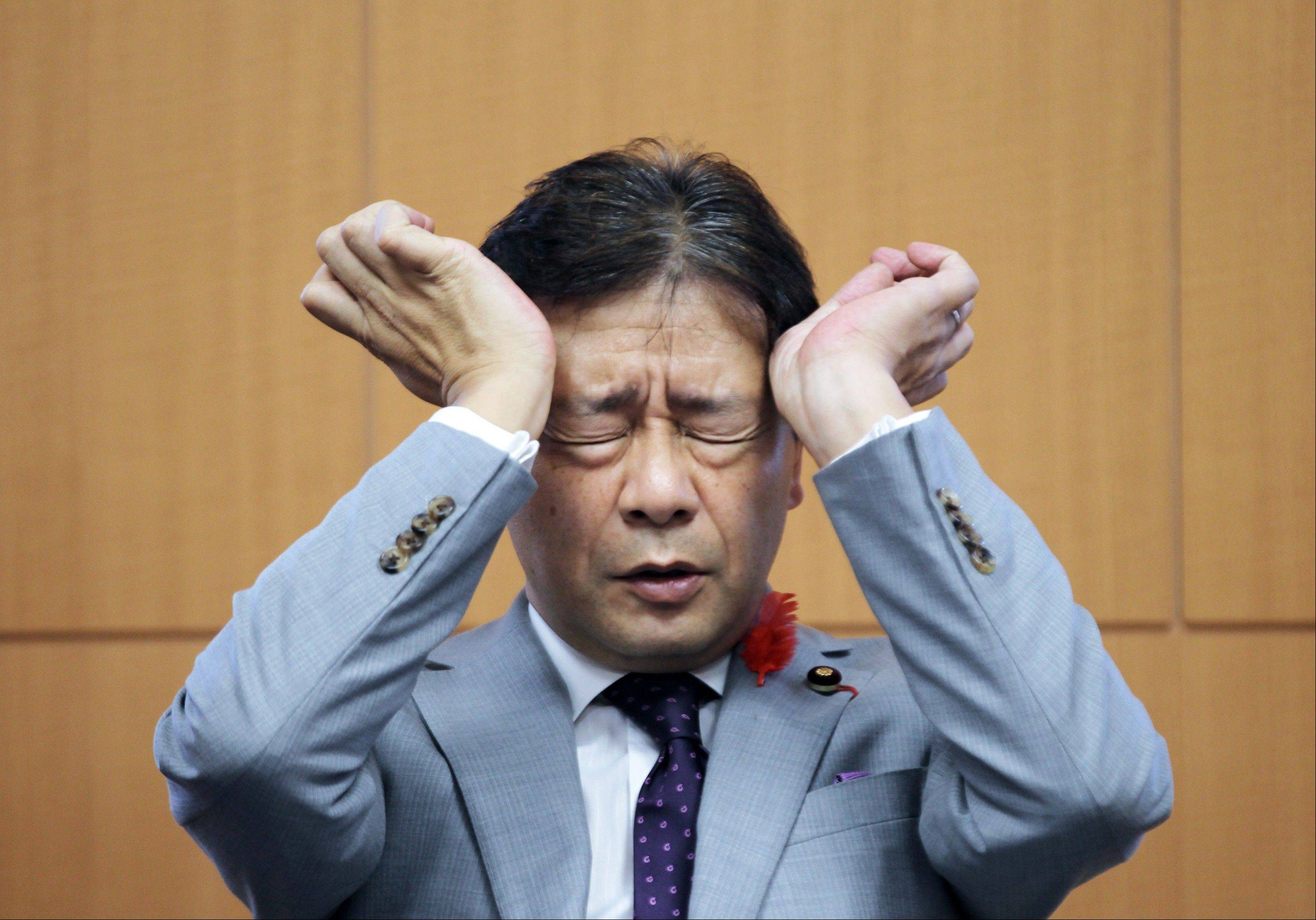 Ikko Nakatsuka, Japan's financial services minister, pauses during a group interview in Tokyo, Japan, on Friday, Oct. 5, 2012. Nakatsuka urged the country's bank lobby to determine whether its process for setting the benchmark yen lending rate should be revamped. Photographer: