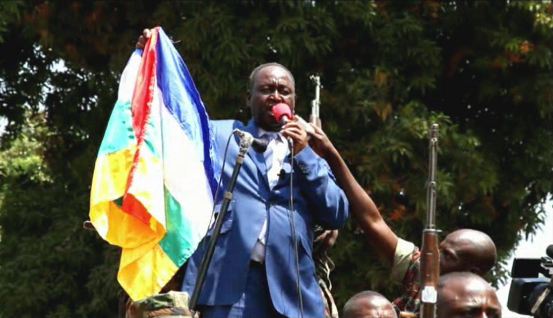 President Francois Bozize addresses crowds in Bangui, Central African Republic. The president of Central African Republic on Thursday urgently called on France and other foreign powers to help his government fend off rebels who are quickly seizing territory and approaching the capital Bangui. French officials, however, declined to offer any military assistance in response to the plea from Francois Bozize.