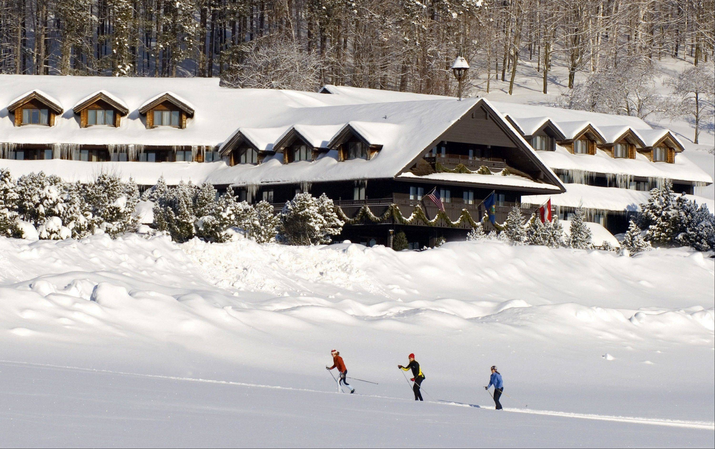 "Cross-country skiers outside the Trapp Family Lodge in Stowe, Vt. The lodge is owned by the famous singing family from ""The Sound of Music."""