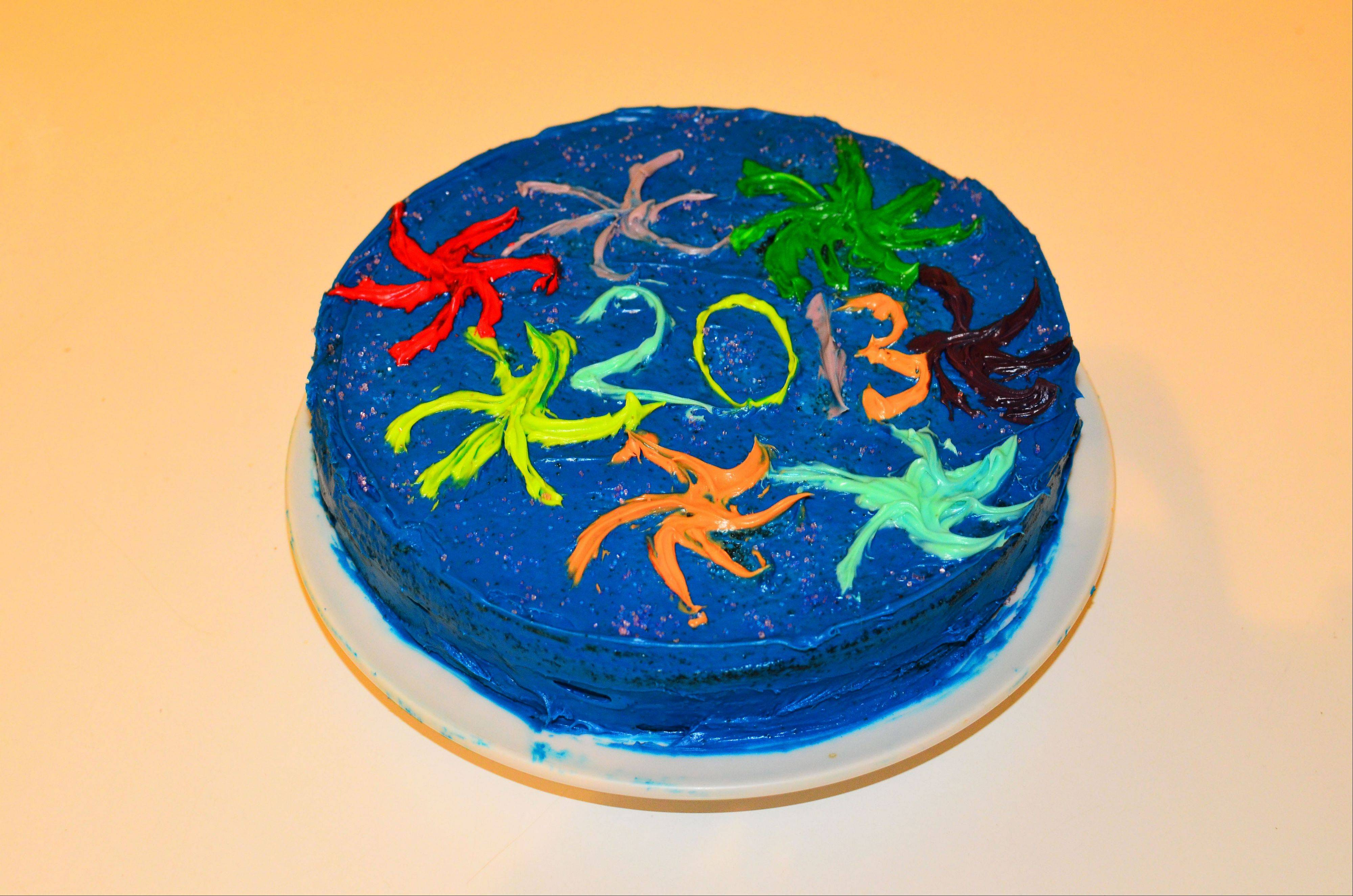 A New Year's cake baked and decorated by Laura Jofre's daughter.