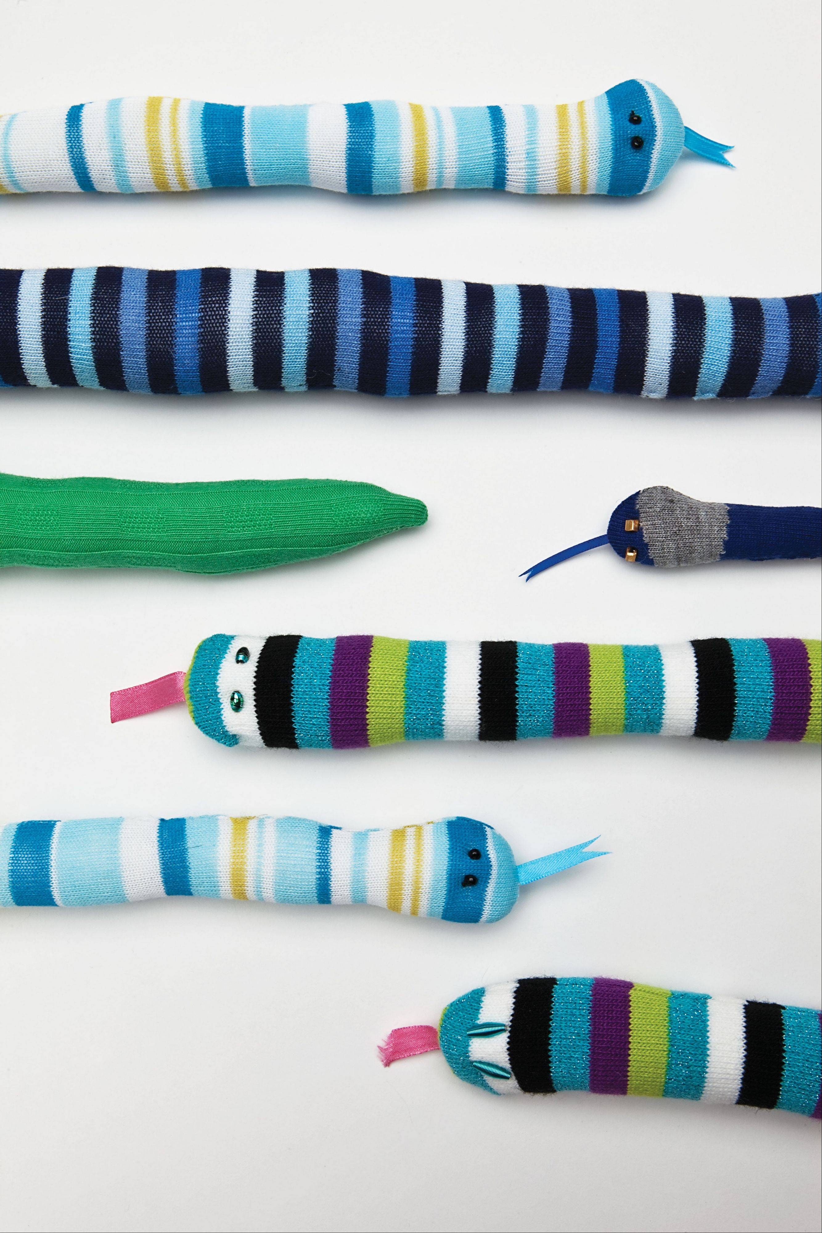 "Snakes from Brenna Maloney's book, ""Socks Appeal"" includes an ""Easy-Peasy"" chapter for kids, with snake, turtle and starfish projects."