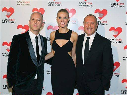 Ryan Murphy, left, Gwyneth Paltrow and Michael Kors attend the God's Love We Deliver 2012 Golden Heart Awards in New York. For the last 20 years, Kors has been involved with God's Love We Deliver, an organization that delivers more than 1 million meals per year to housebound people suffering from illness.