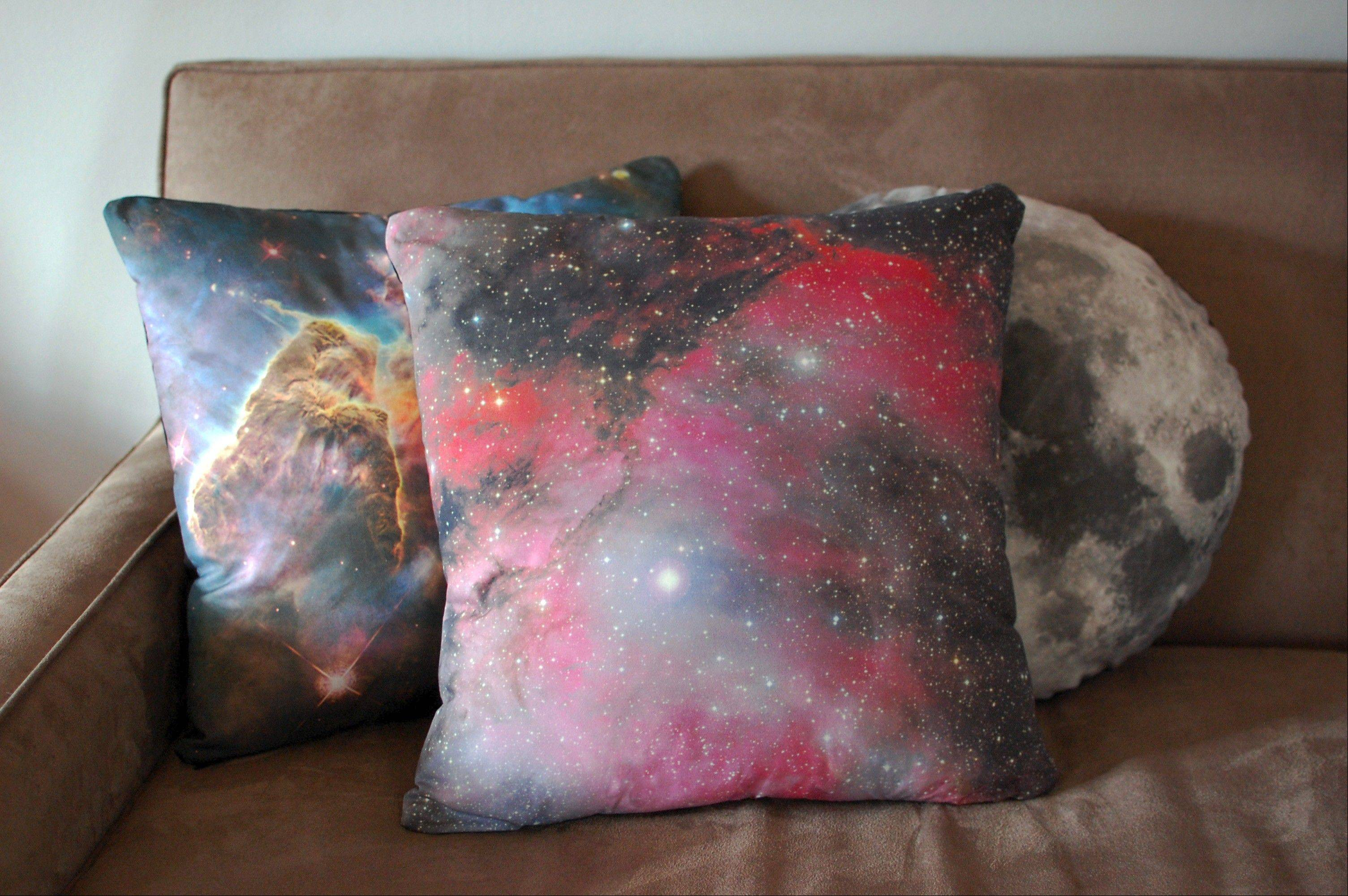 Galaxy pillow covers feature images from the Hubble telescope.