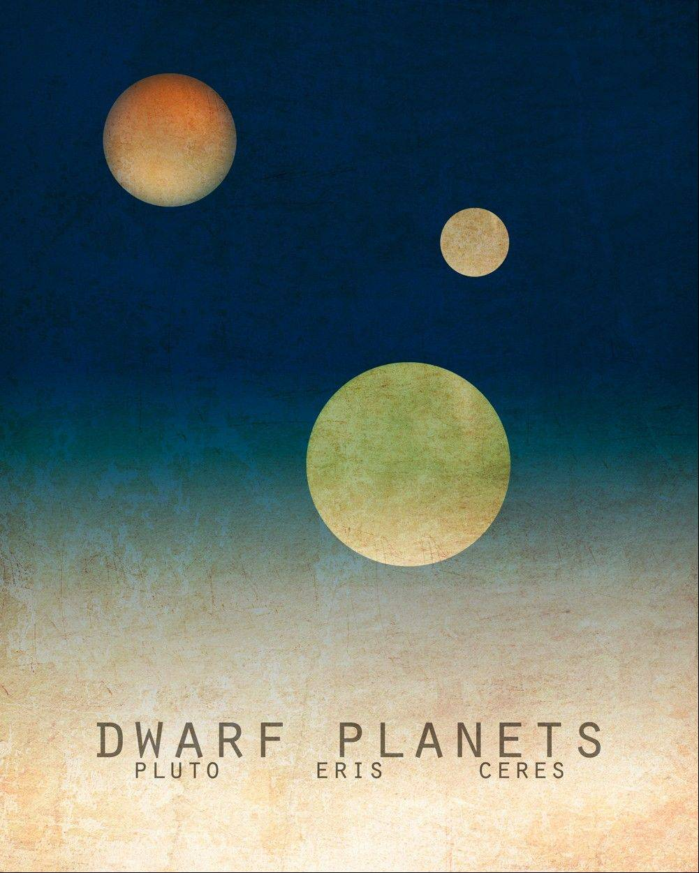 This print by artist Megan Lee shows the dwarf planets, Pluto, Eris and Ceres.