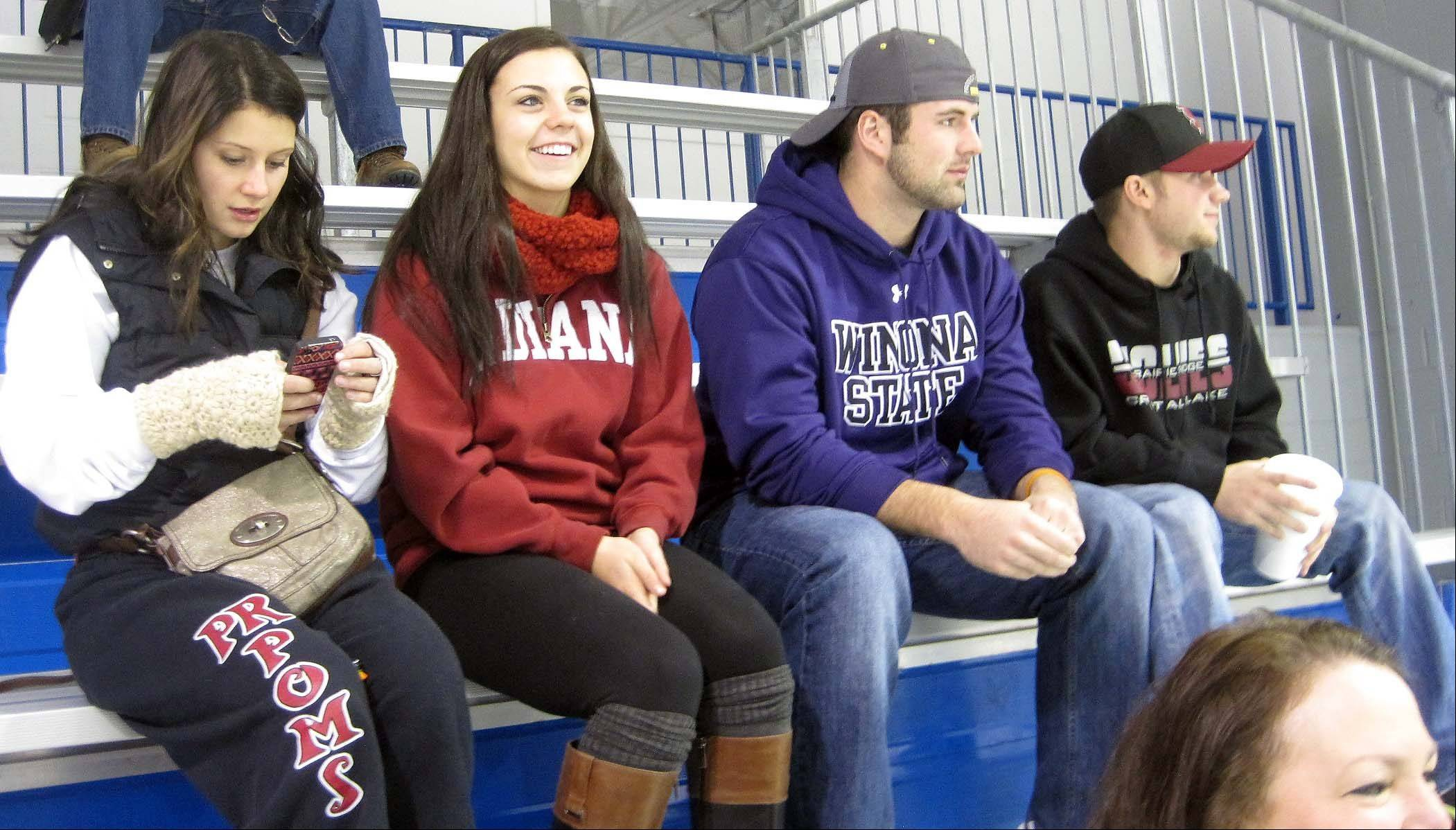 "About 40 people attended a ""Miracles for Moose"" benefit hockey game on Saturday at Leafs Ice Centre in West Dundee to raise funds for the family 18-year-old Anthony ""Moose"" Mustari, of Crystal Lake, who is battling a rare form of leukemia. Pictured are Anthony's friends, from left, Rachel Van Doorn, 18, of Crystal Lake, Elaine Cotter, 19, of Crystal Lake, Nick Margiotta, 19, of Crystal Lake, and Tyler Kwiatkowski, 18, of Cary."